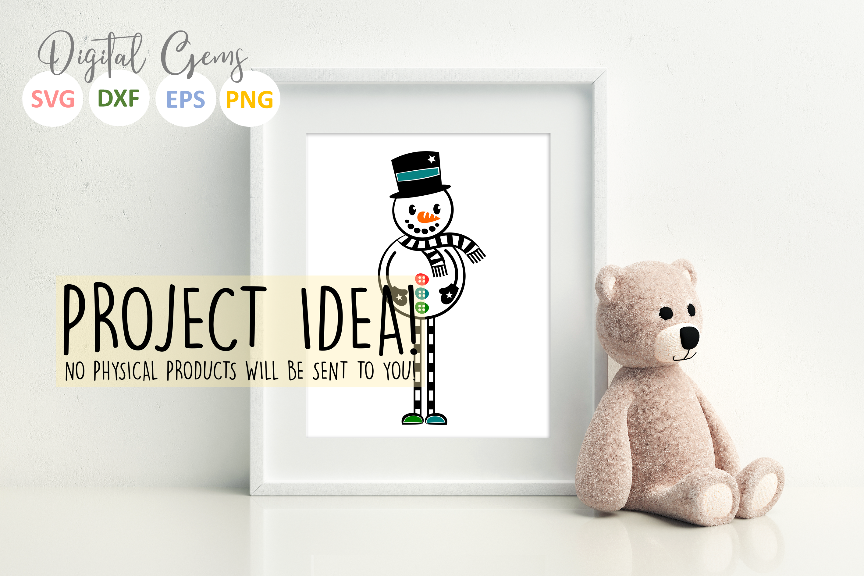 Snowman SVG / PNG / EPS / DXF files example image 3