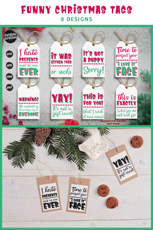 Funny Christmas Tags SVG Bundle example image 4