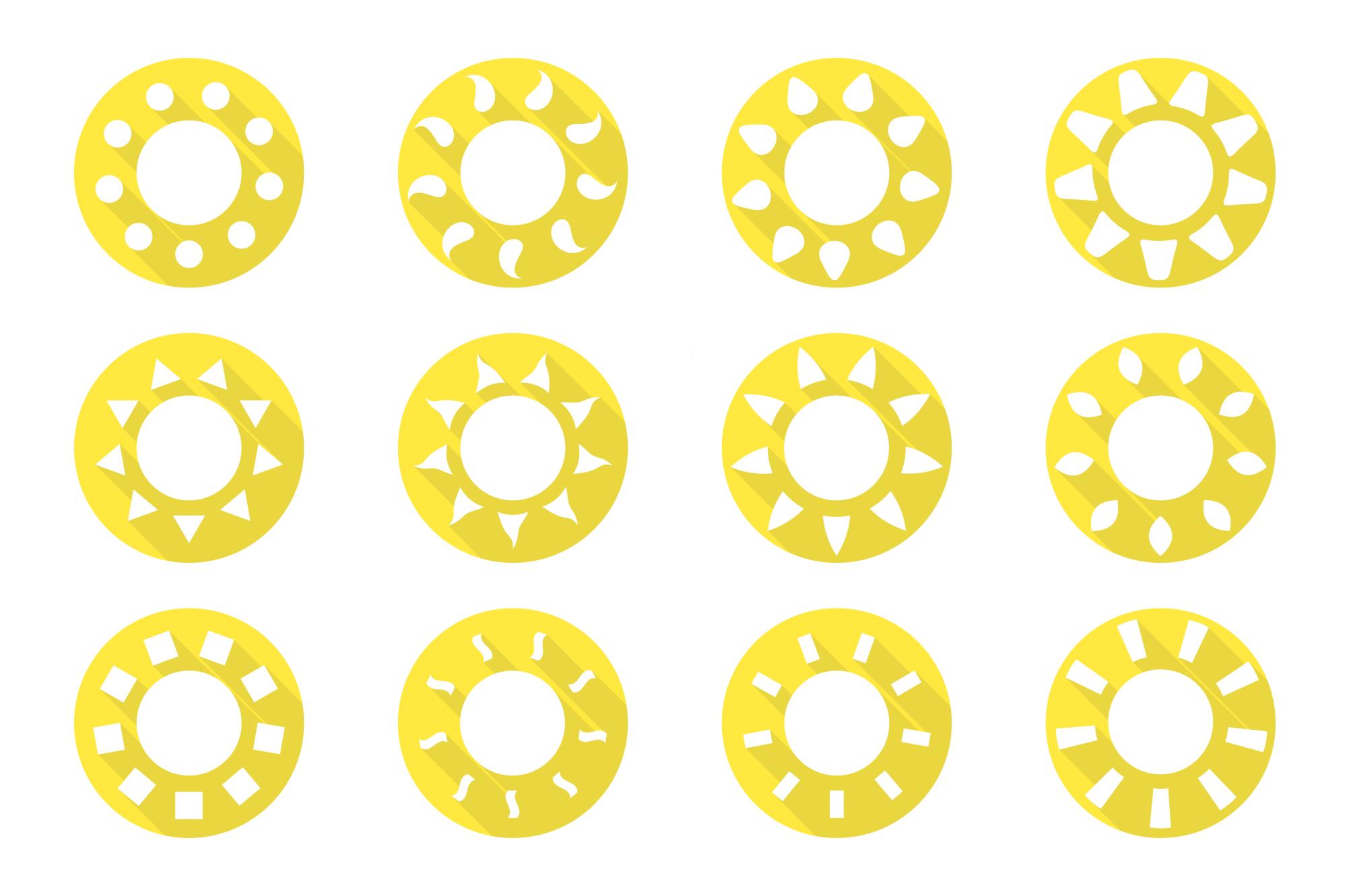 Vector sun icons set. Flat design. example image 1