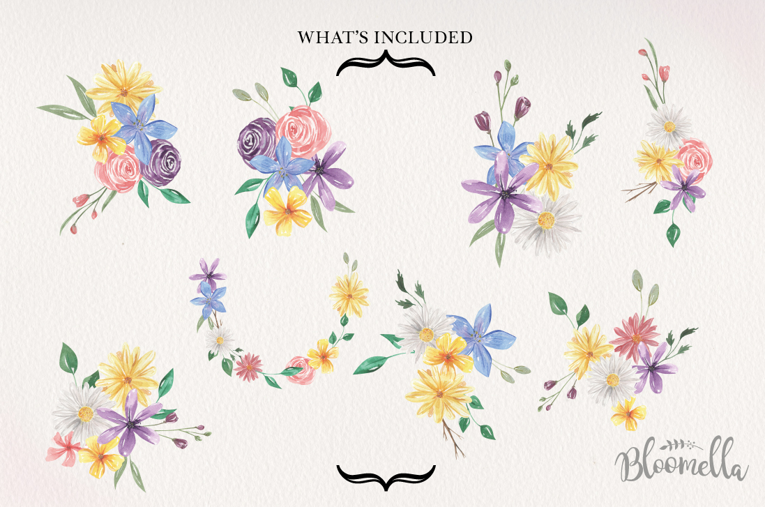 Allura Flowers 8Bouquets Watercolor Daisy Florals Pink Arch example image 4