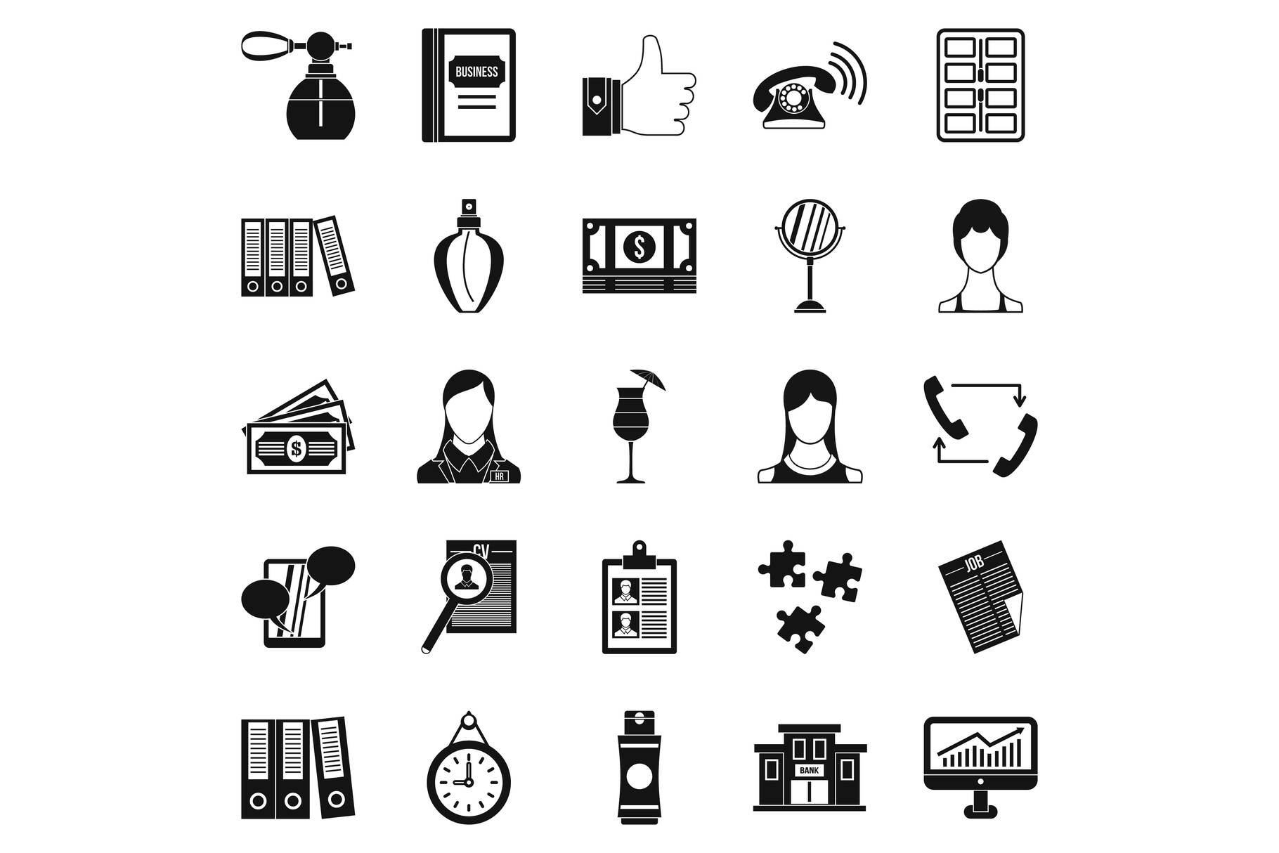 Business studio icons set, simple style example image 1