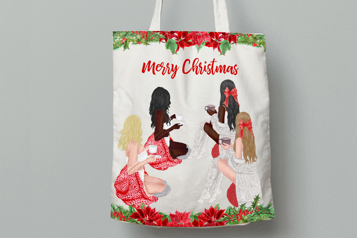 Christmas Girls Clipart, Fireplace and Stockings, Ornaments example image 5
