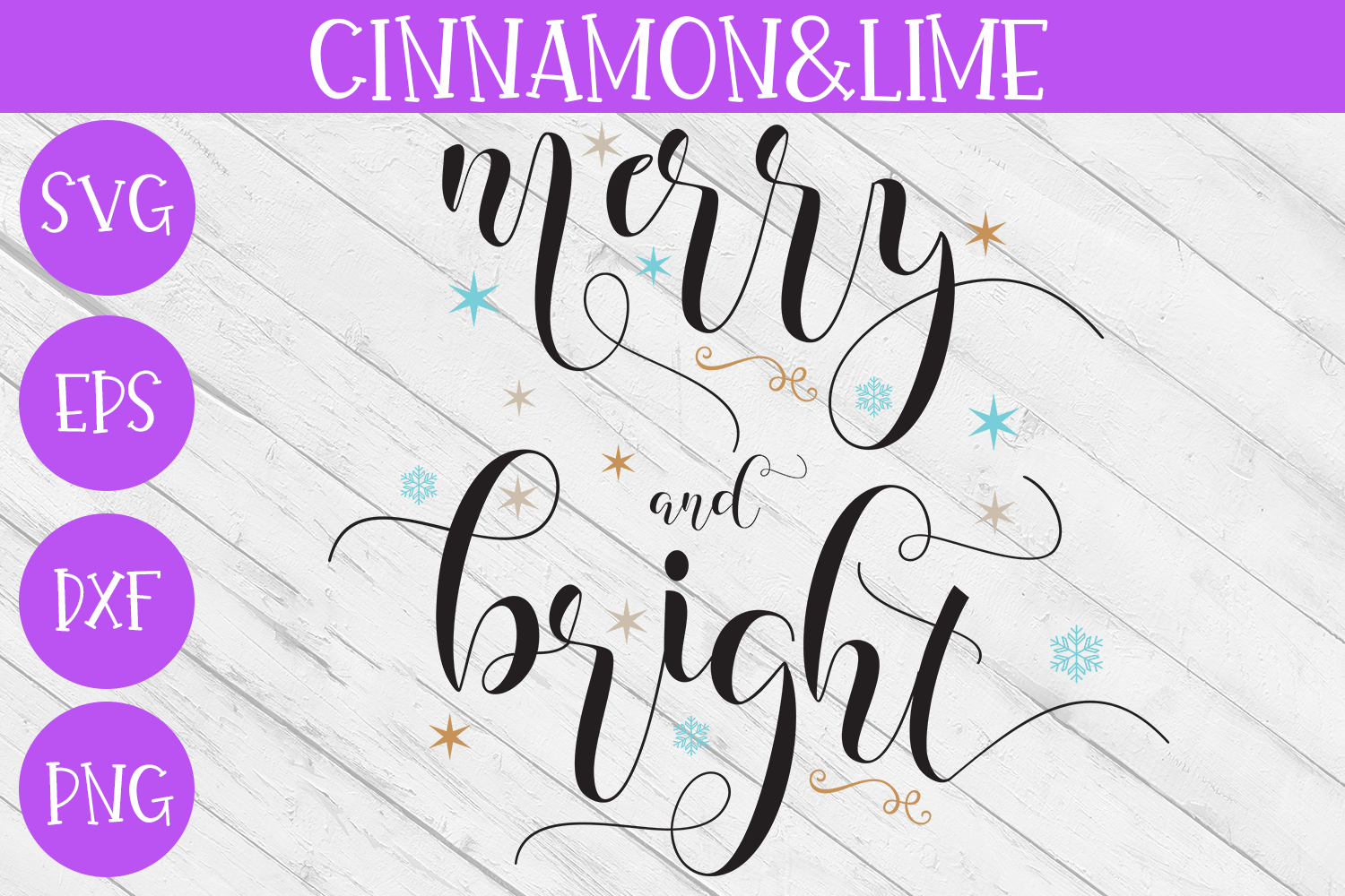 Merry and Bright SVG - Christmas Cut File example image 1