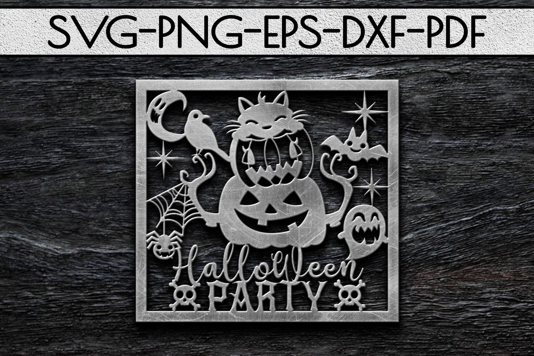 Halloween Party Papercut Template, Halloween Decor SVG, PDF example image 3