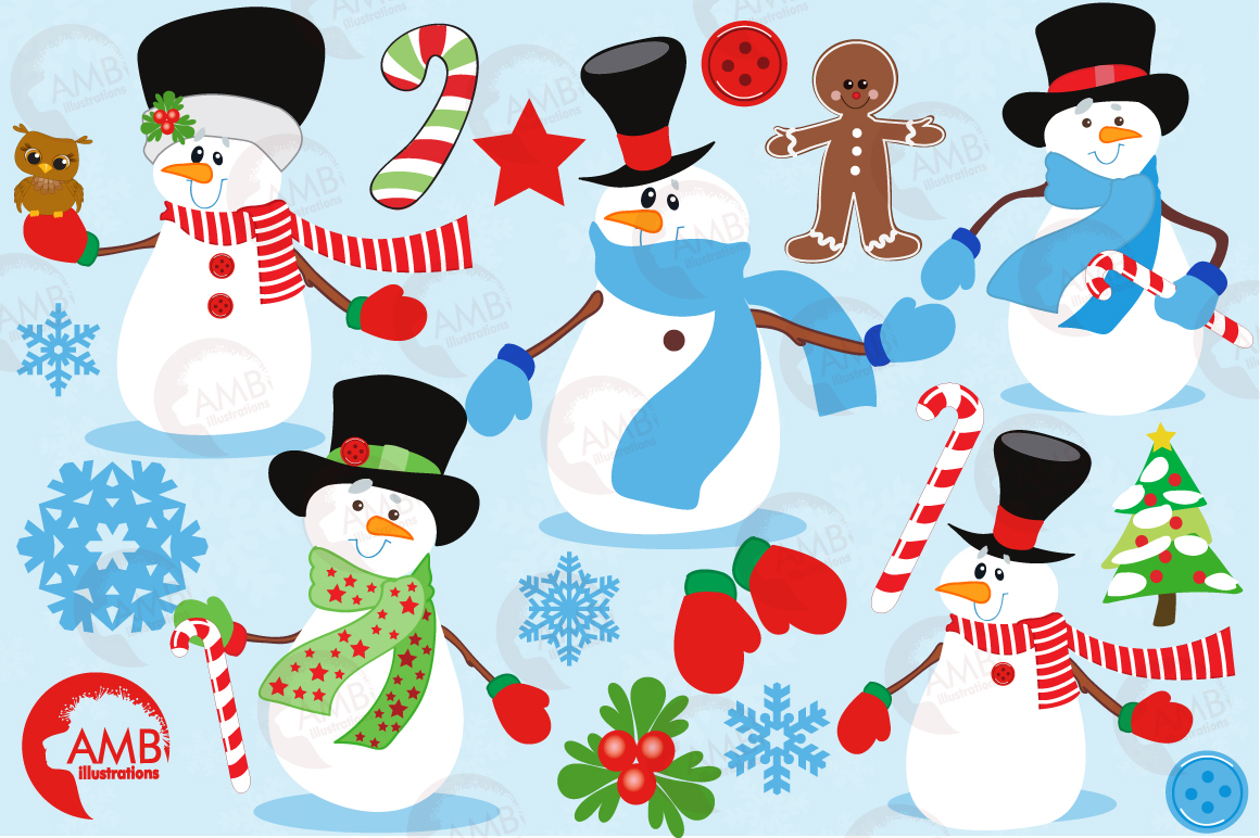 Snowmen in tophats clipart, graphics, illustrations AMB-502 example image 4