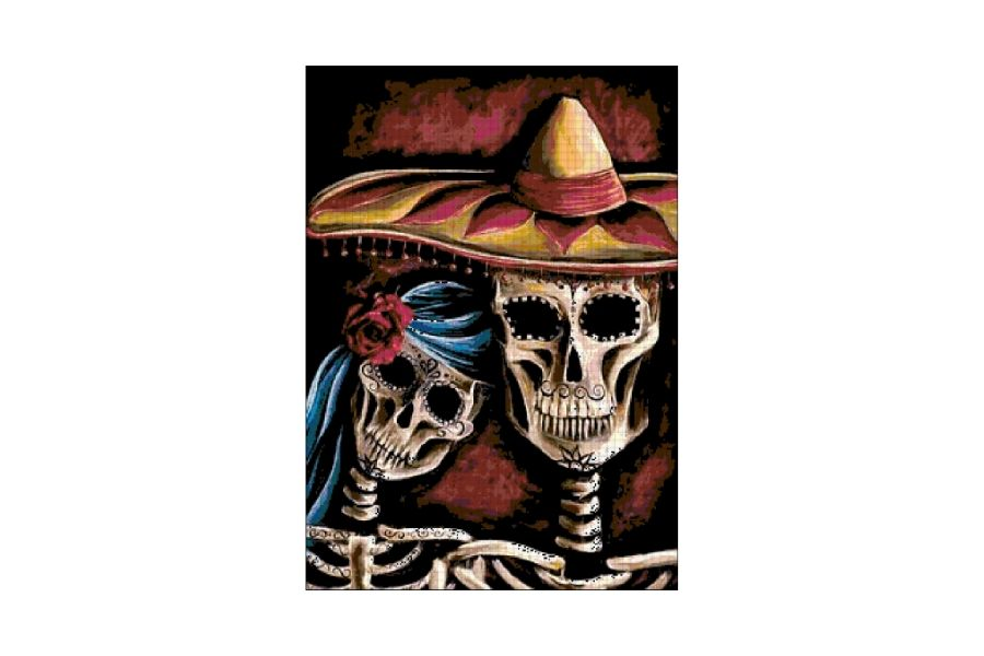 Skulls & Skeletons Day of the Dead Love Cross Stitch Pattern example image 1