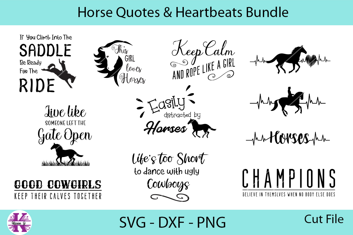 Horses Quotes & Heartbeats Bundle - SVG DXF PNG example image 1