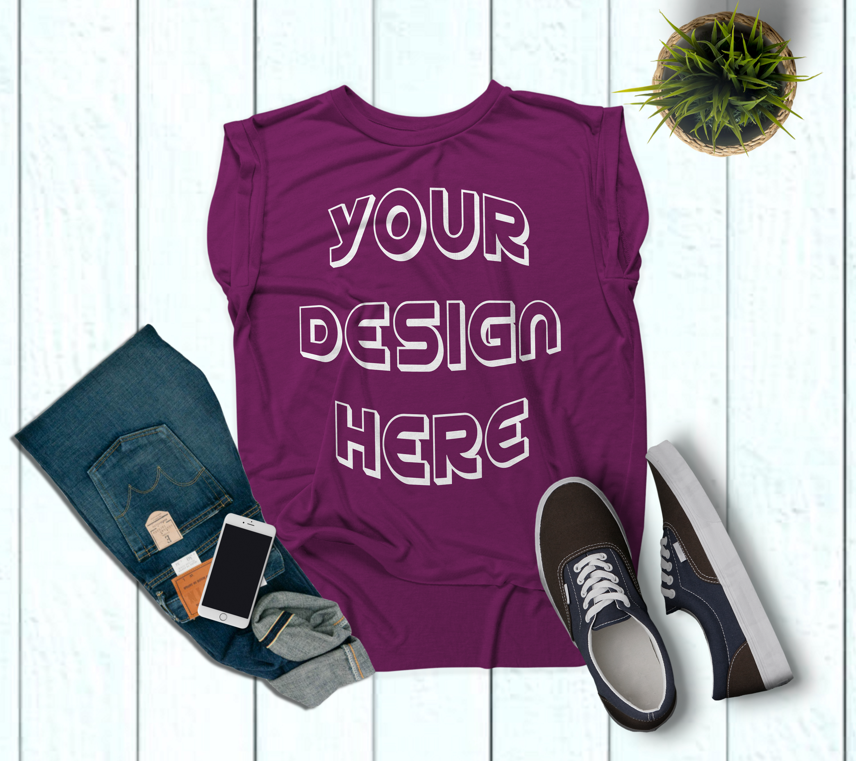 Women's Rolled Cuffs Tank Mockups - 7 example image 7
