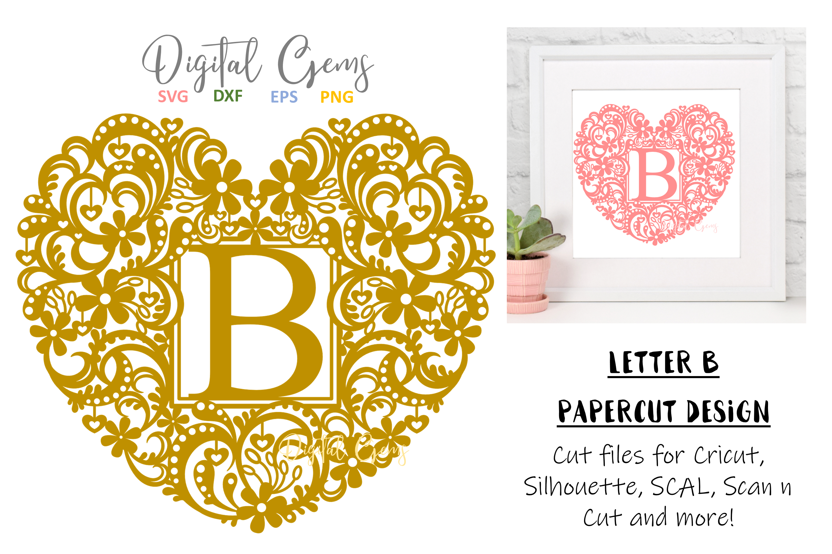 Letter B paper cut design. SVG / DXF / EPS / PNG files example image 1