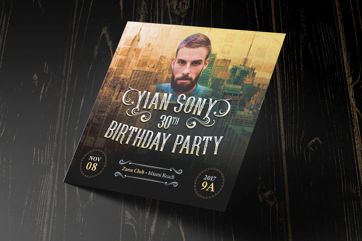 Hipster Small Birthday Party Flyer Template example image 1