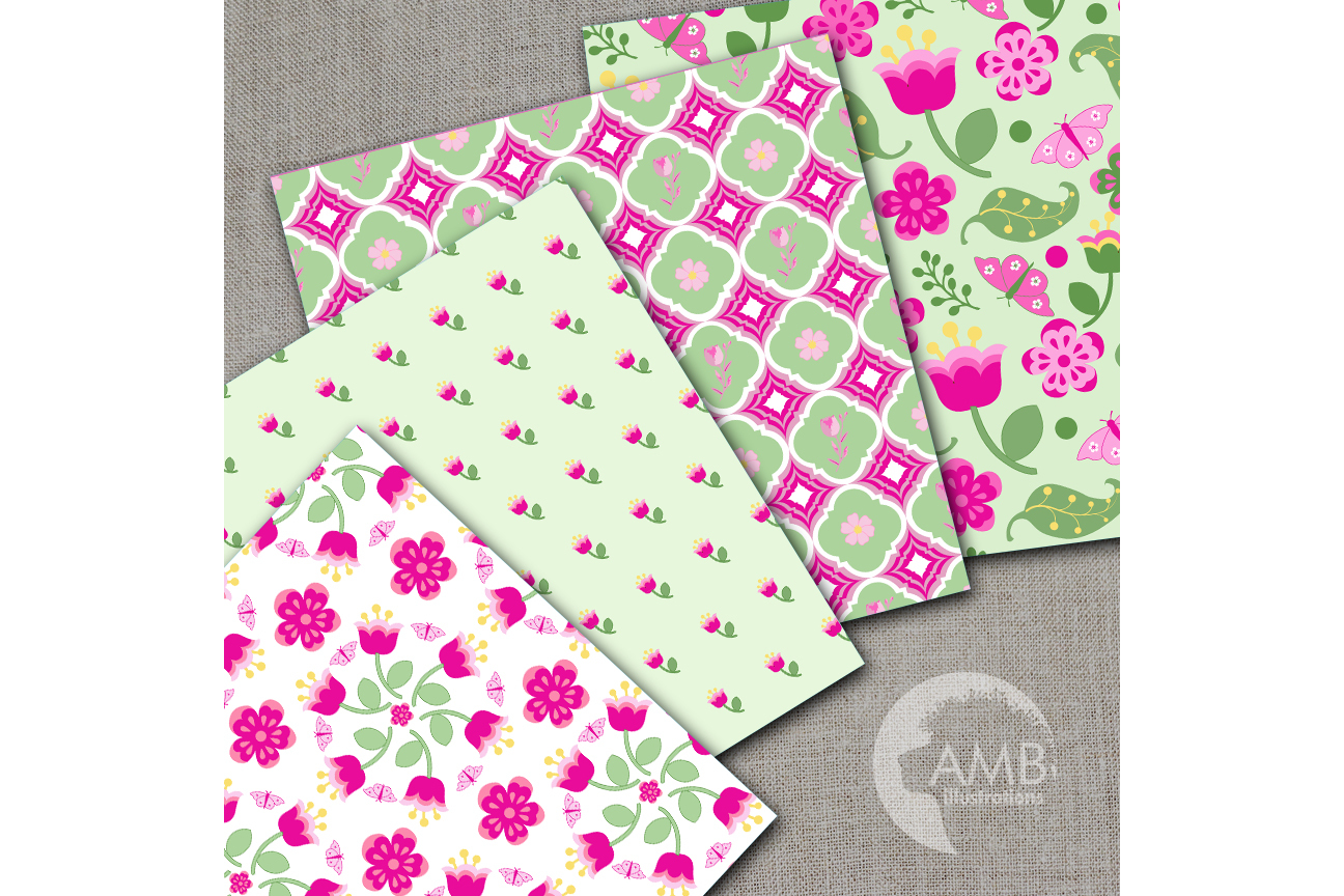 Shabby Chic papers, Pink floral Papers, Soft and bright pink floral pattern, Spring paper, commercial use, AMB-1410 example image 2