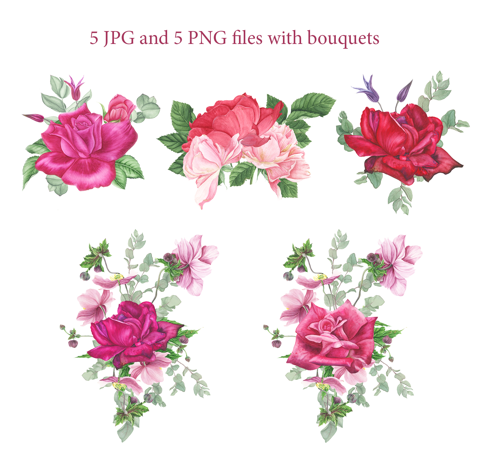 Roses garden watercolor set example image 3