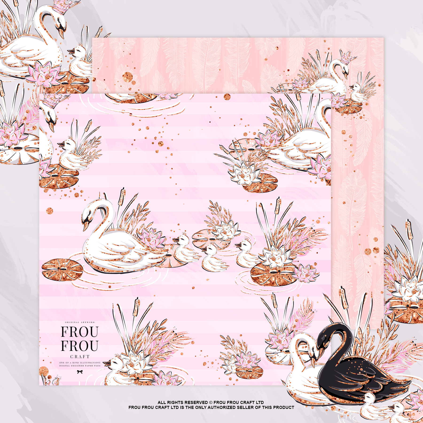 Swan Rose Gold Glitter Nursery Paper Pack example image 7