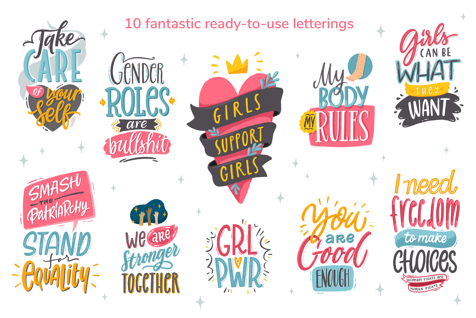 Feminism, vector letterings and graphics example image 2