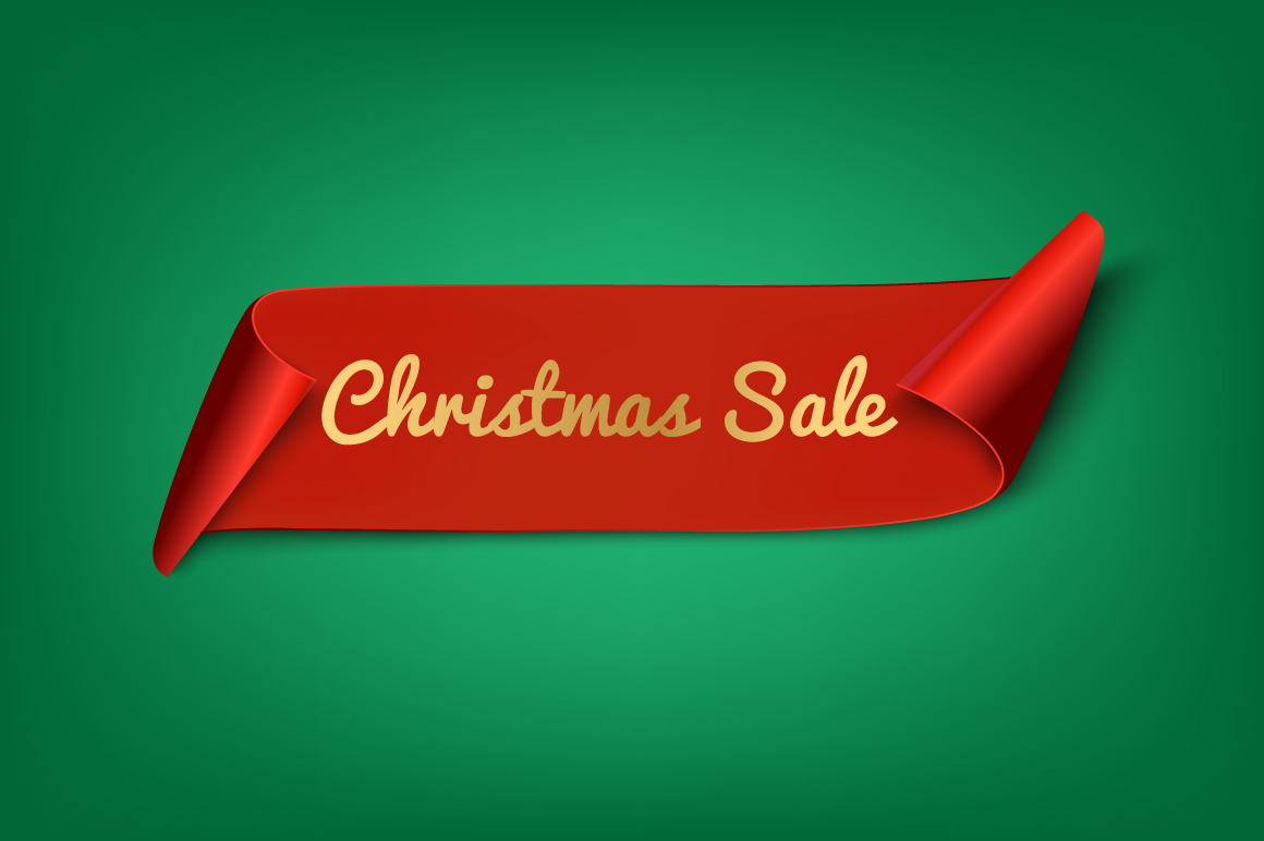 Christmas Sale. Red Ribbon example image 1