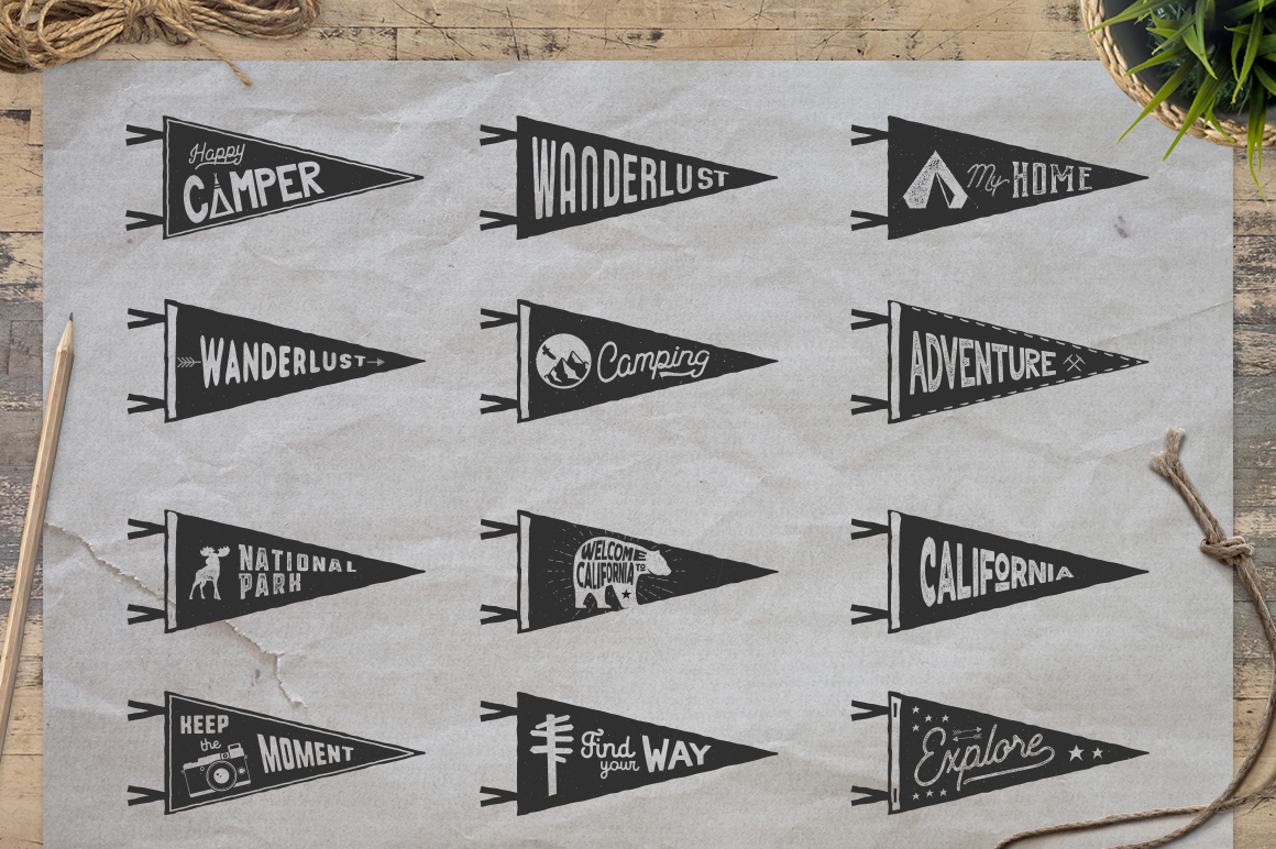 Vintage Pennants Set | Part 2 example image 4