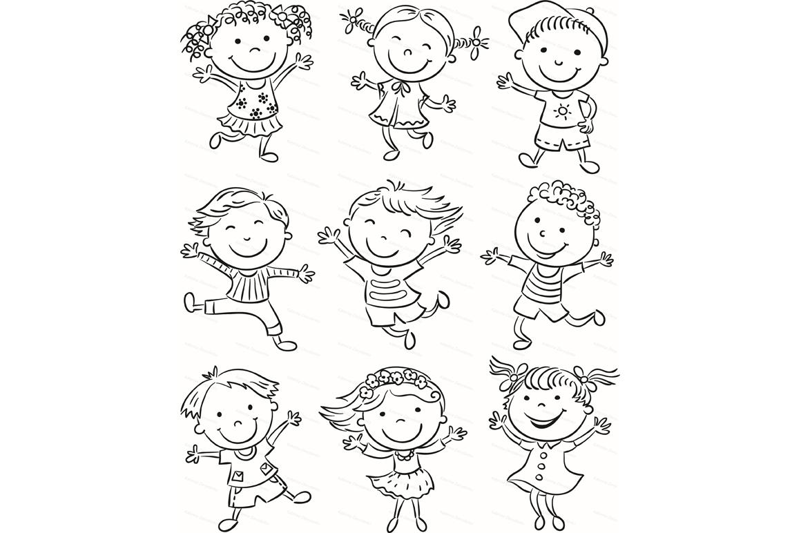 Happy Cartoon Kids Bundle, children doodle, kids doodle example image 27
