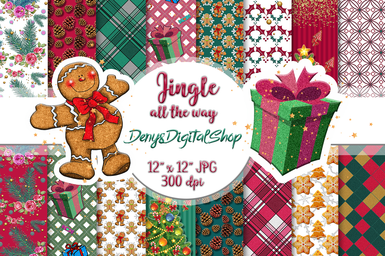 Christmas papers, jingle all the way, Scrapbook,BLACK FRIDAY example image 1