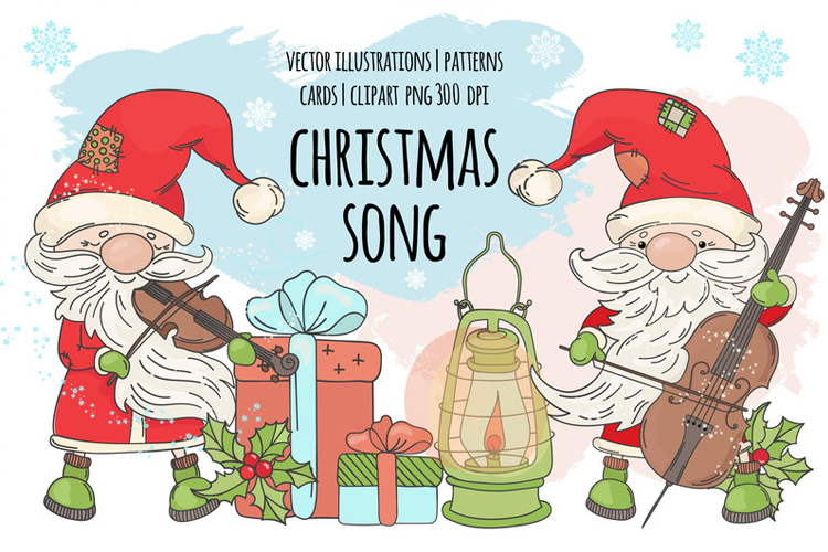CHRISTMAS SONG New Year Santa Music Clip Art Pattern Vector example image 1