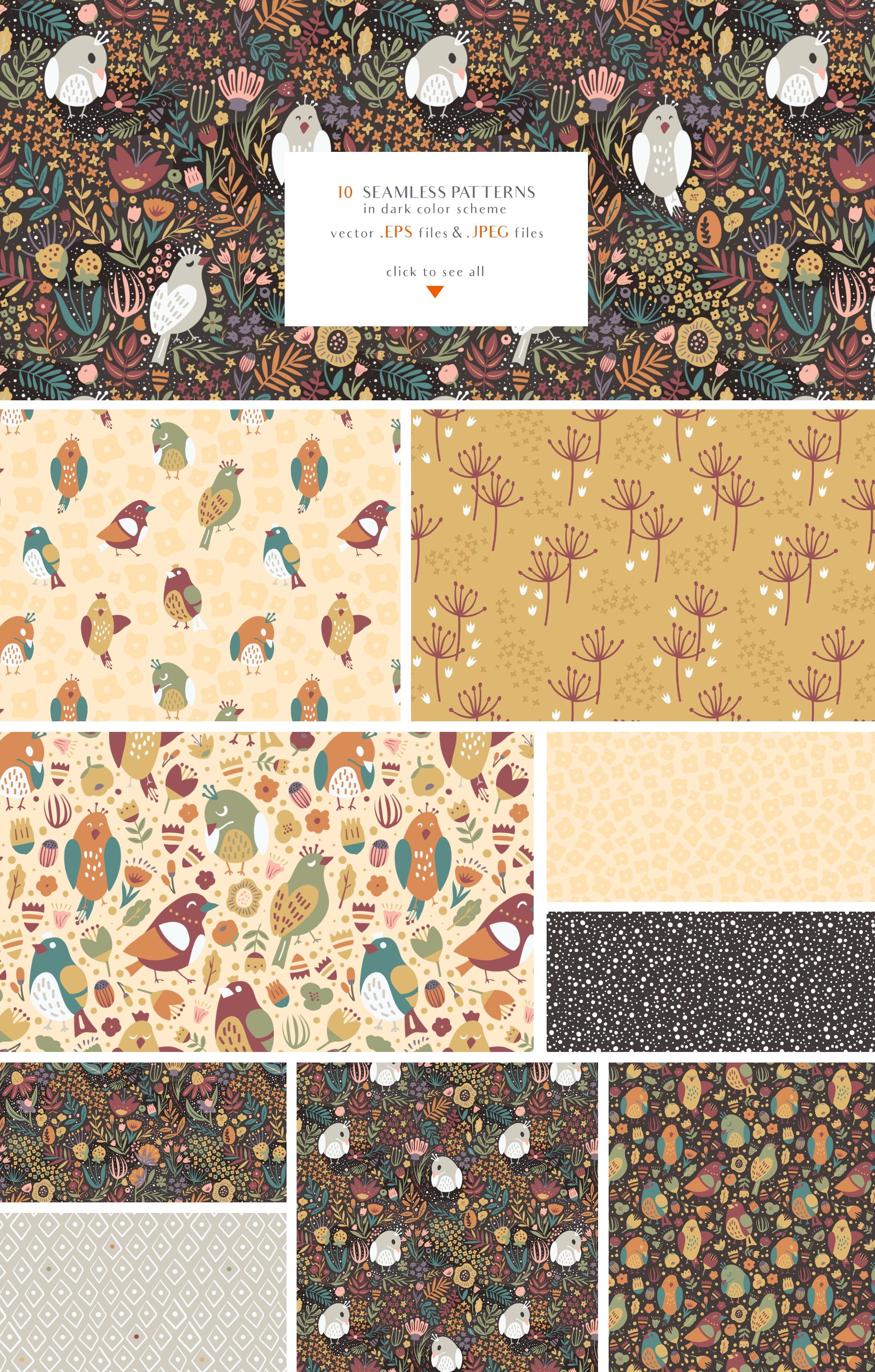 Birds Garden - Seamless Patterns Set example image 2