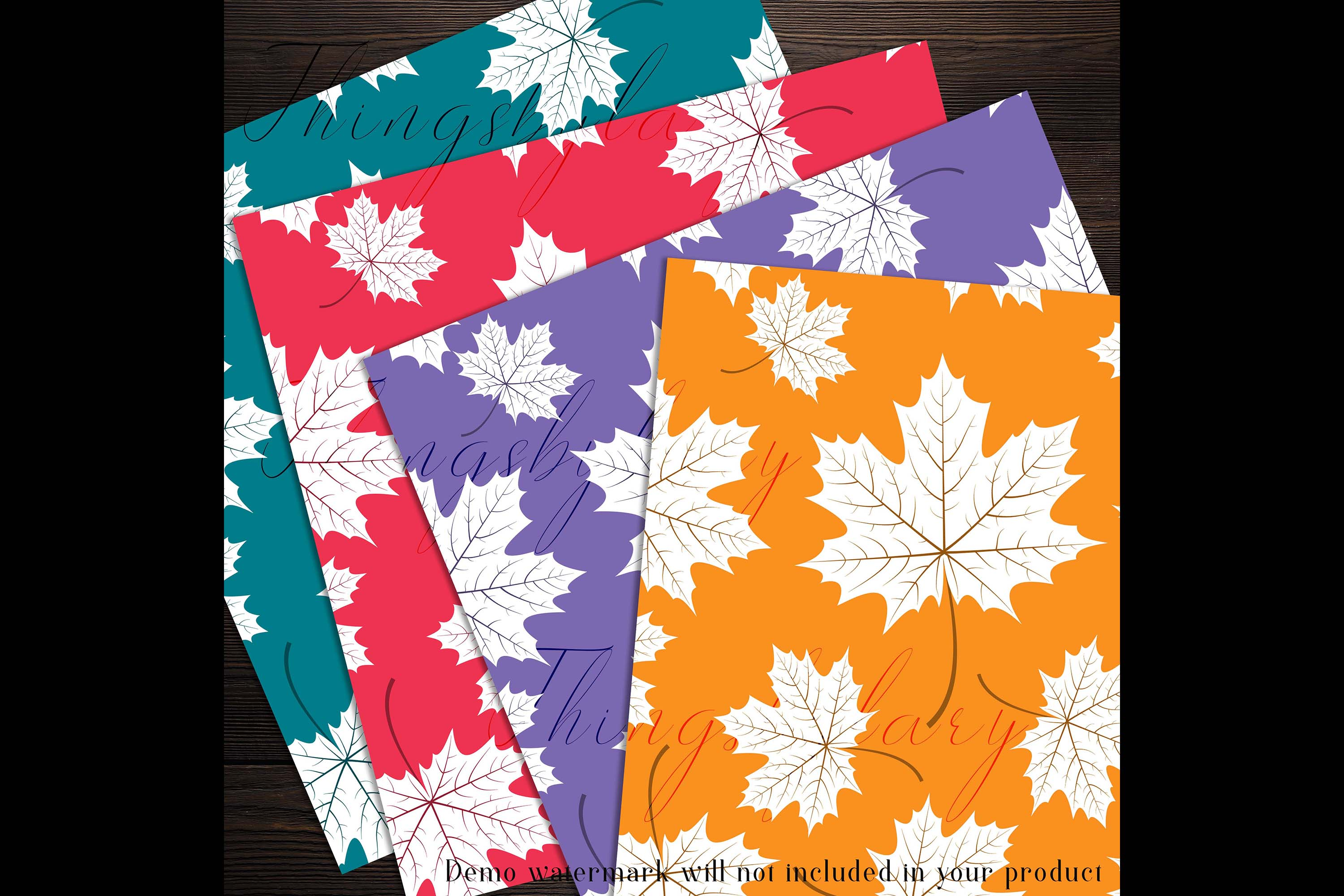 100 Seamless White Autumn Leaves Pattern Digital Papers example image 6