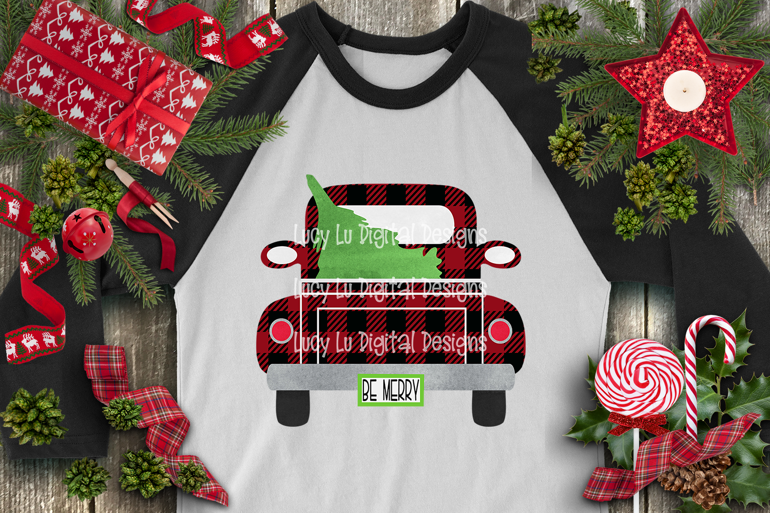 Be Merry Buffalo Plaid Truck example image 2