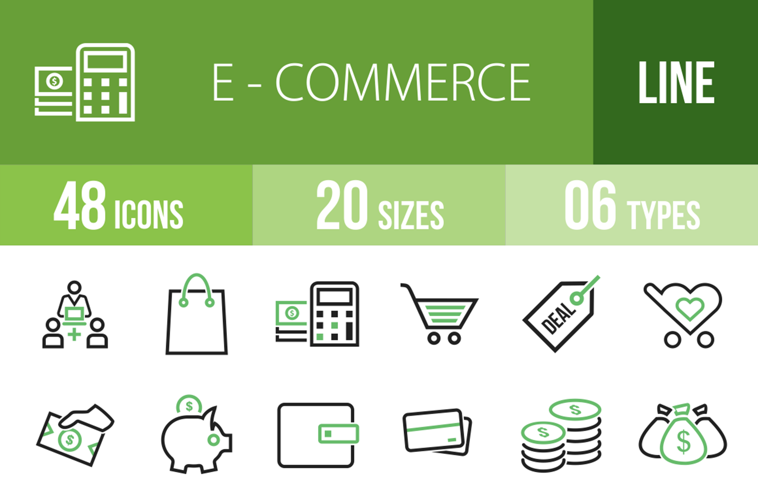 48 Ecommerce Line Green & Black Icons example image 1