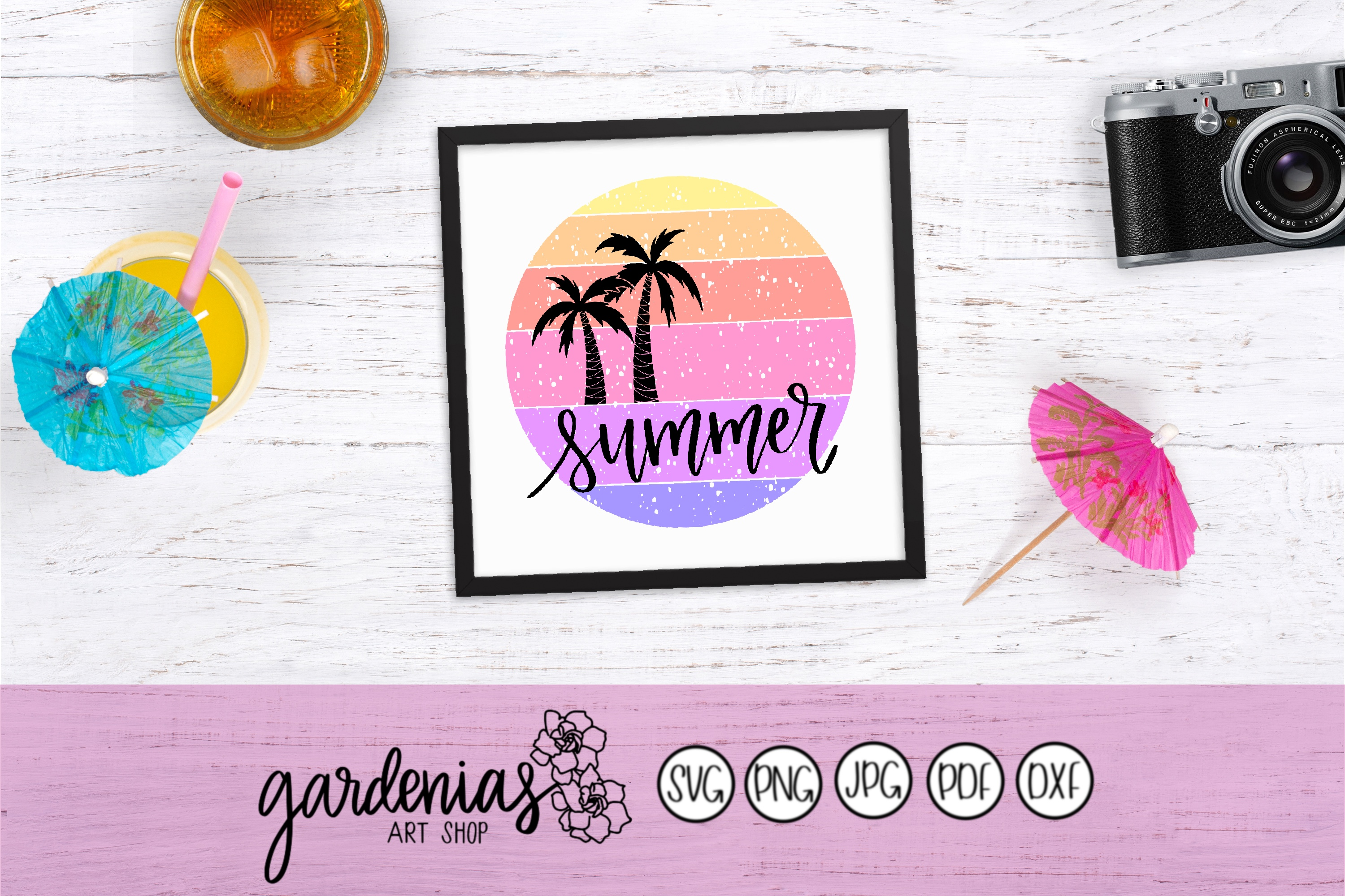 Summer SVG | Palm Trees SVG| Distressed | Circle | Textured example image 2