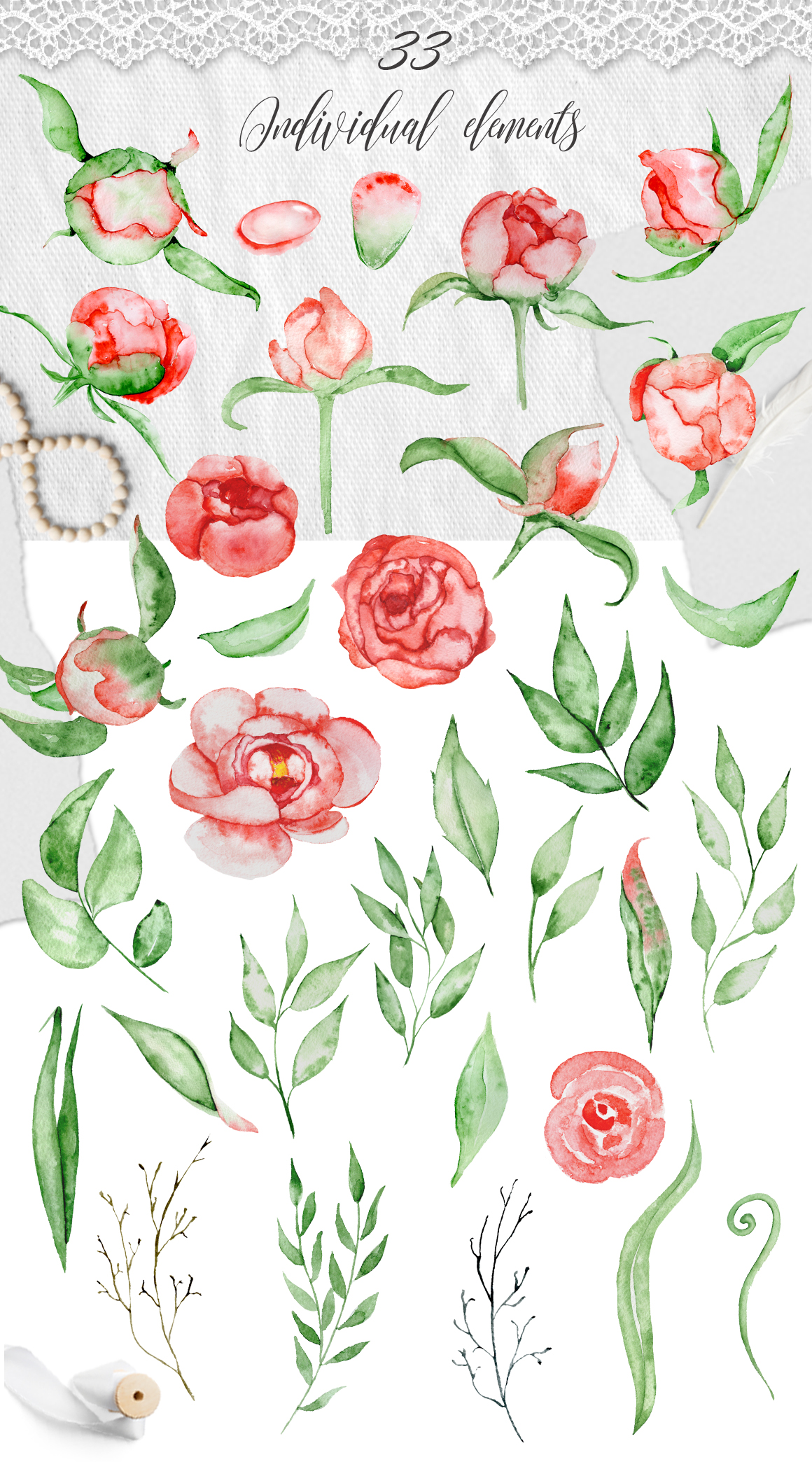 Watercolor red romantic peonies clipart Floral elements example image 2
