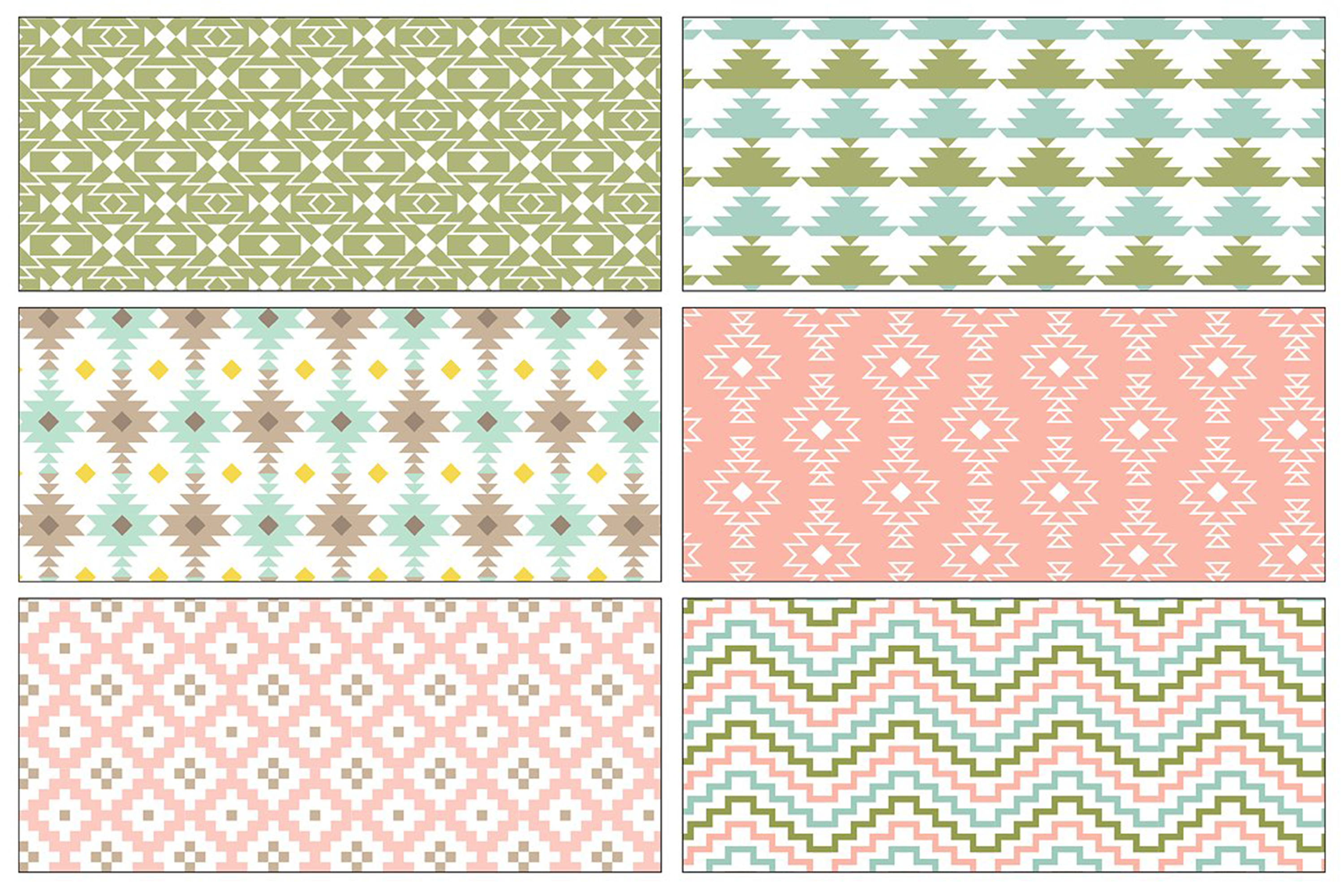 Seamless Pastel Native American Patterns example image 4