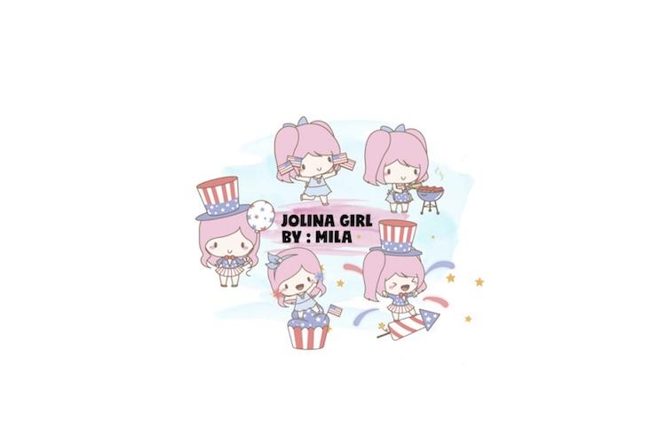 KAWAII GIRL JOLINA INDEPENDENCE DAY CLIPART BUNDLE PNG example image 1