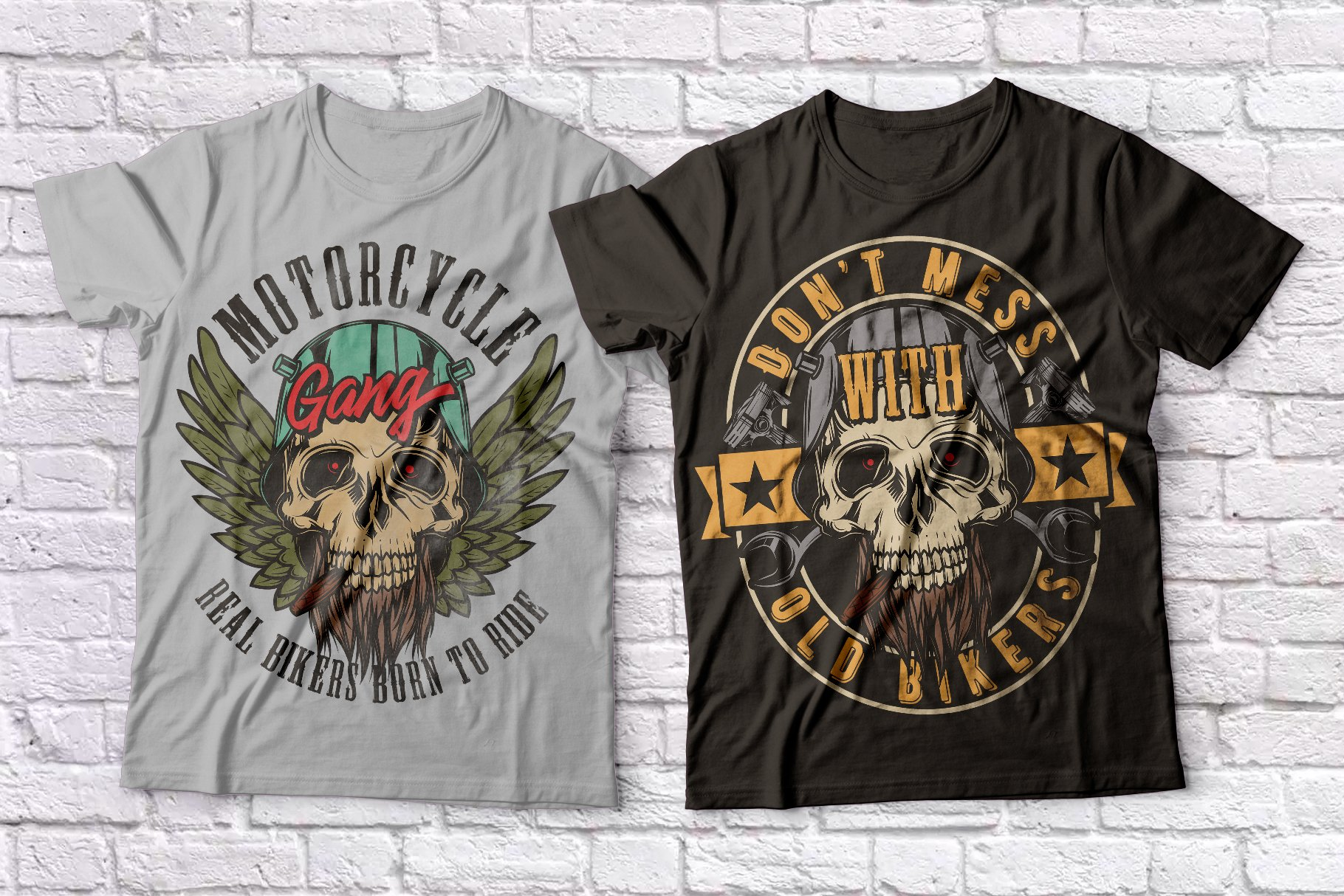 Warriors and bikers T-shirts set example image 2