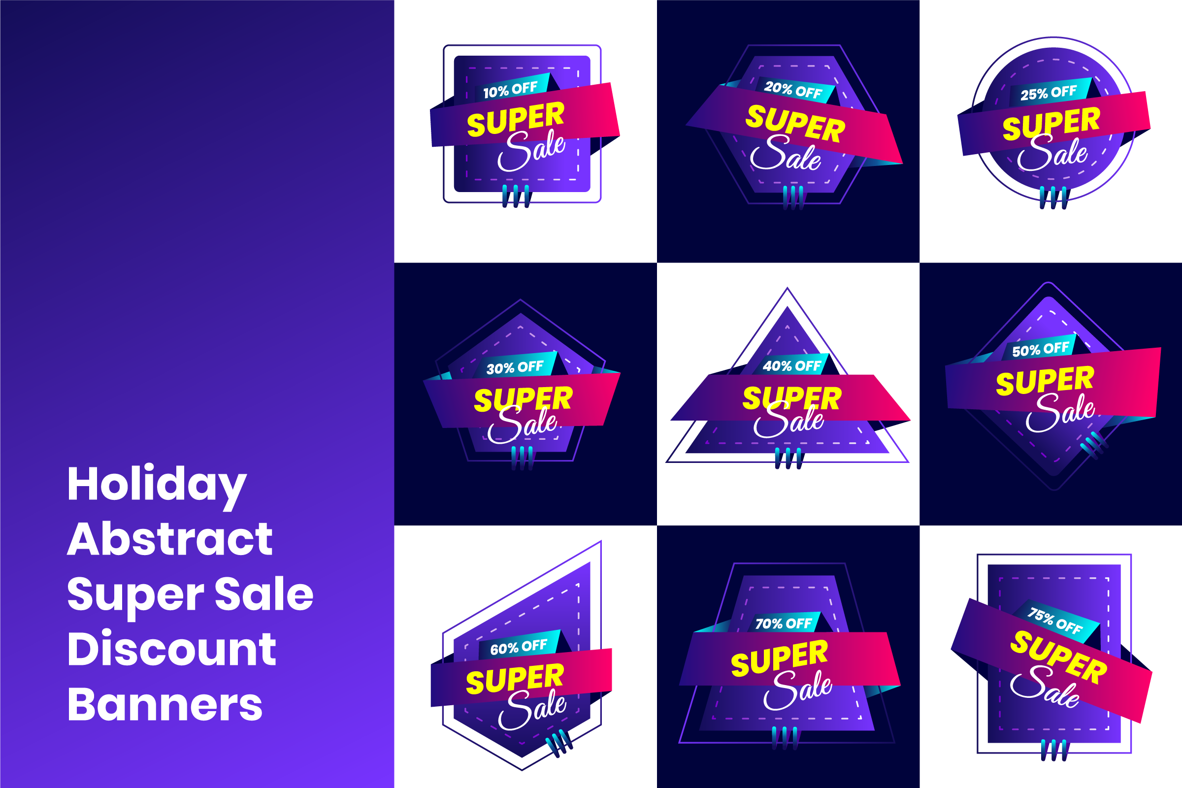 Holiday Abstract Super Sale Discount Banners example image 1