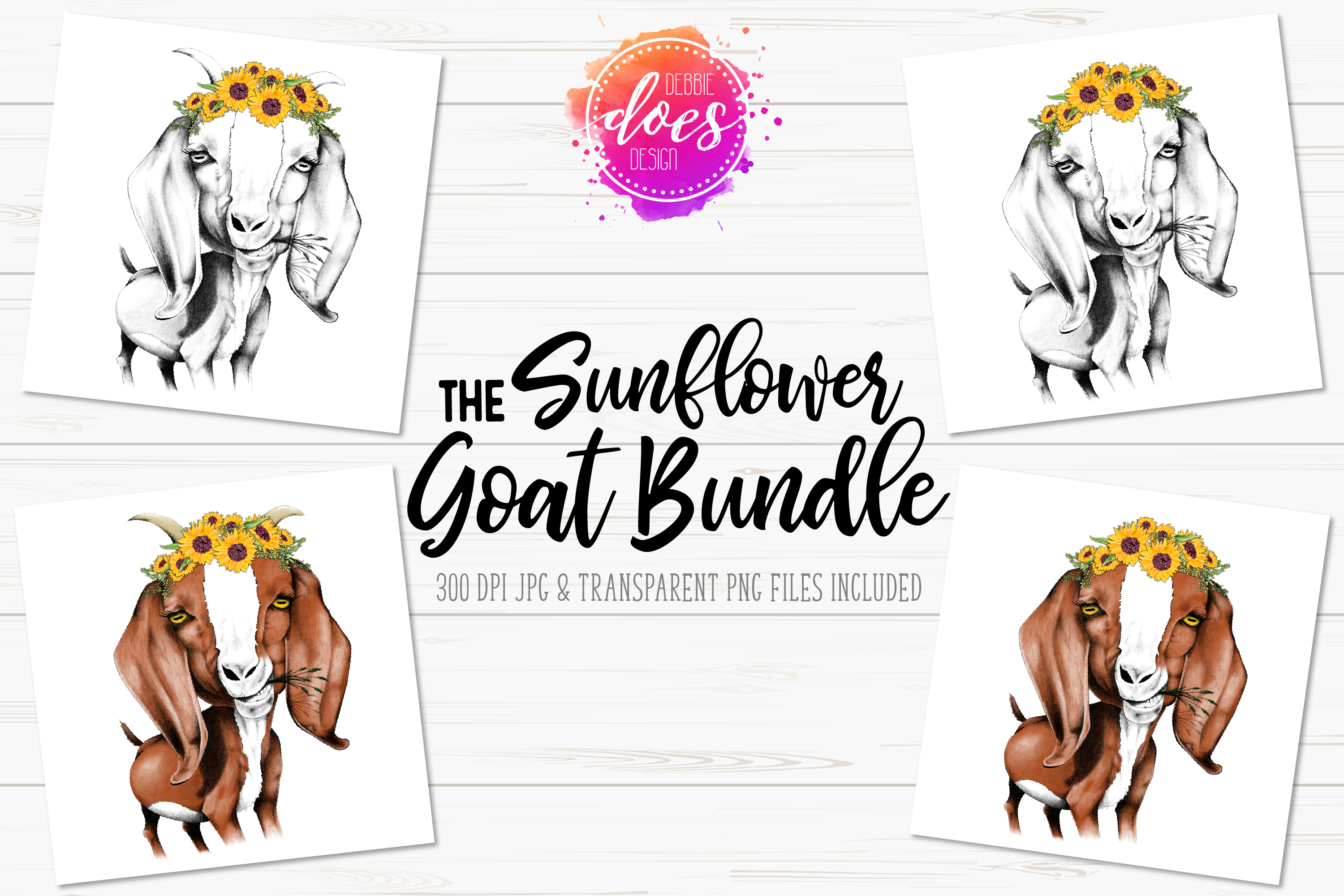 The Sunflower Hand Drawn Goat Bundle example image 1