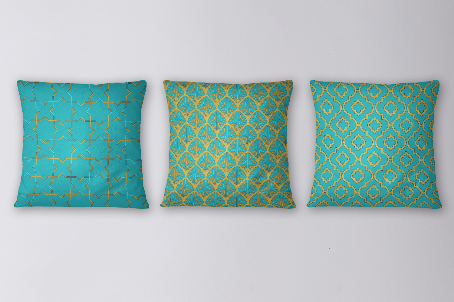 8 Seamless Moroccan Patterns - Gold & Turquoise example image 5
