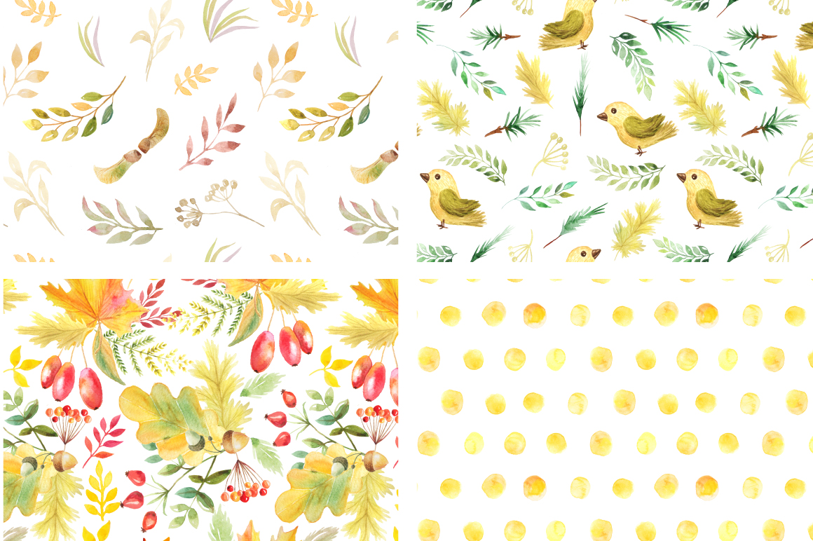 Watercolor Autumn Patterns Vol.2 example image 2