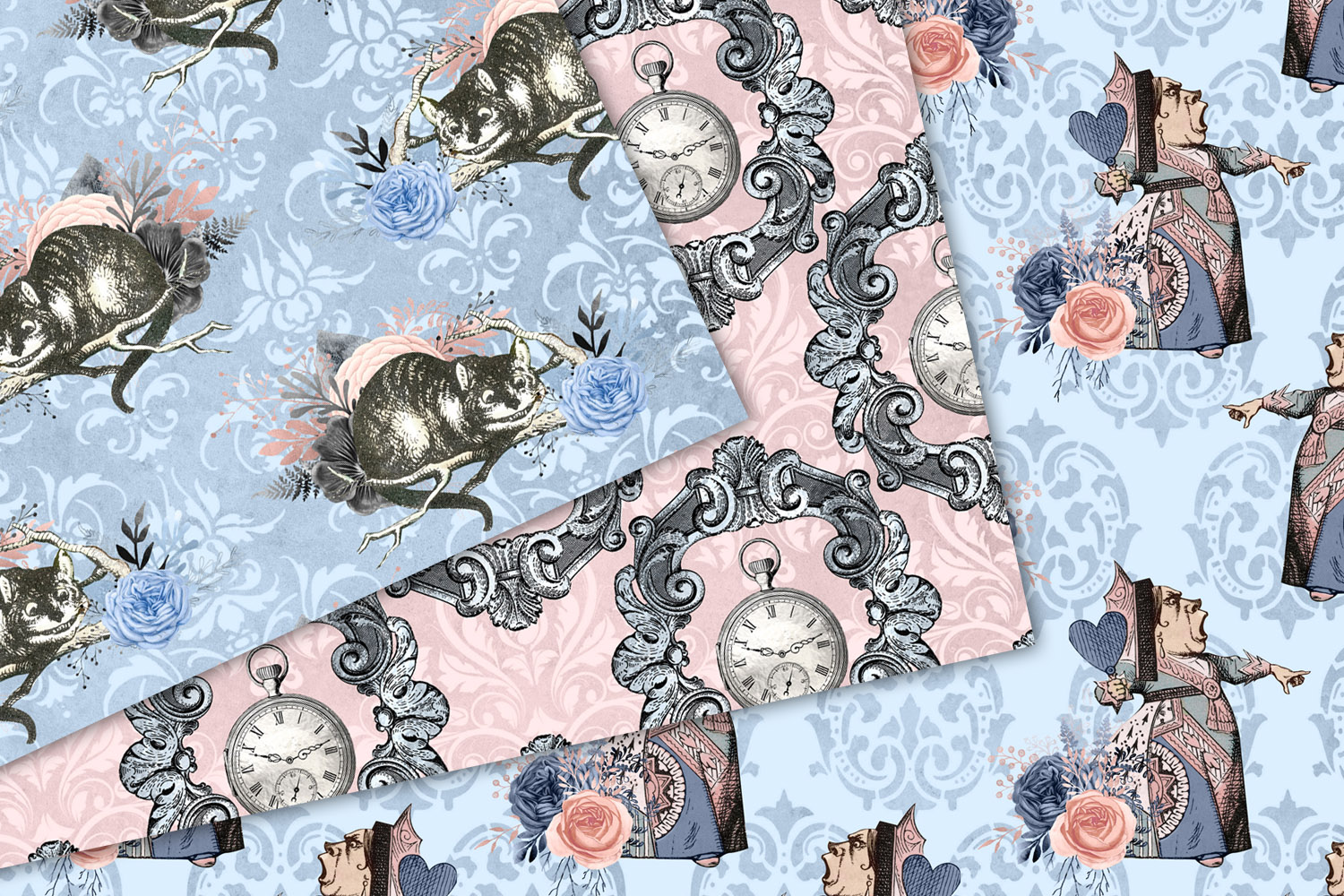 Alice In Wonderland Blue and Blush Digital Paper example image 2