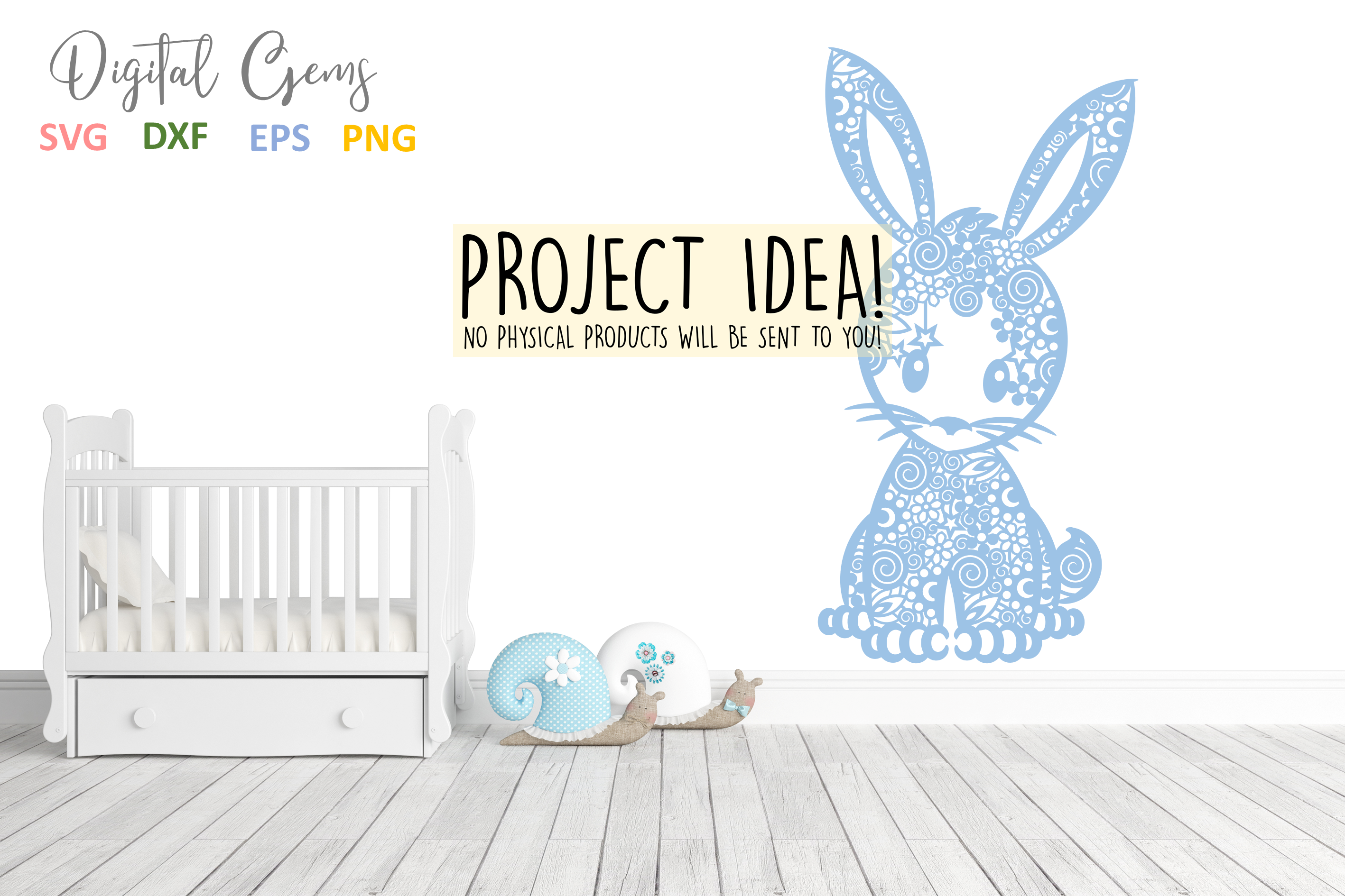 Bunny Rabbit paper cut SVG / DXF / EPS / PNG files example image 5