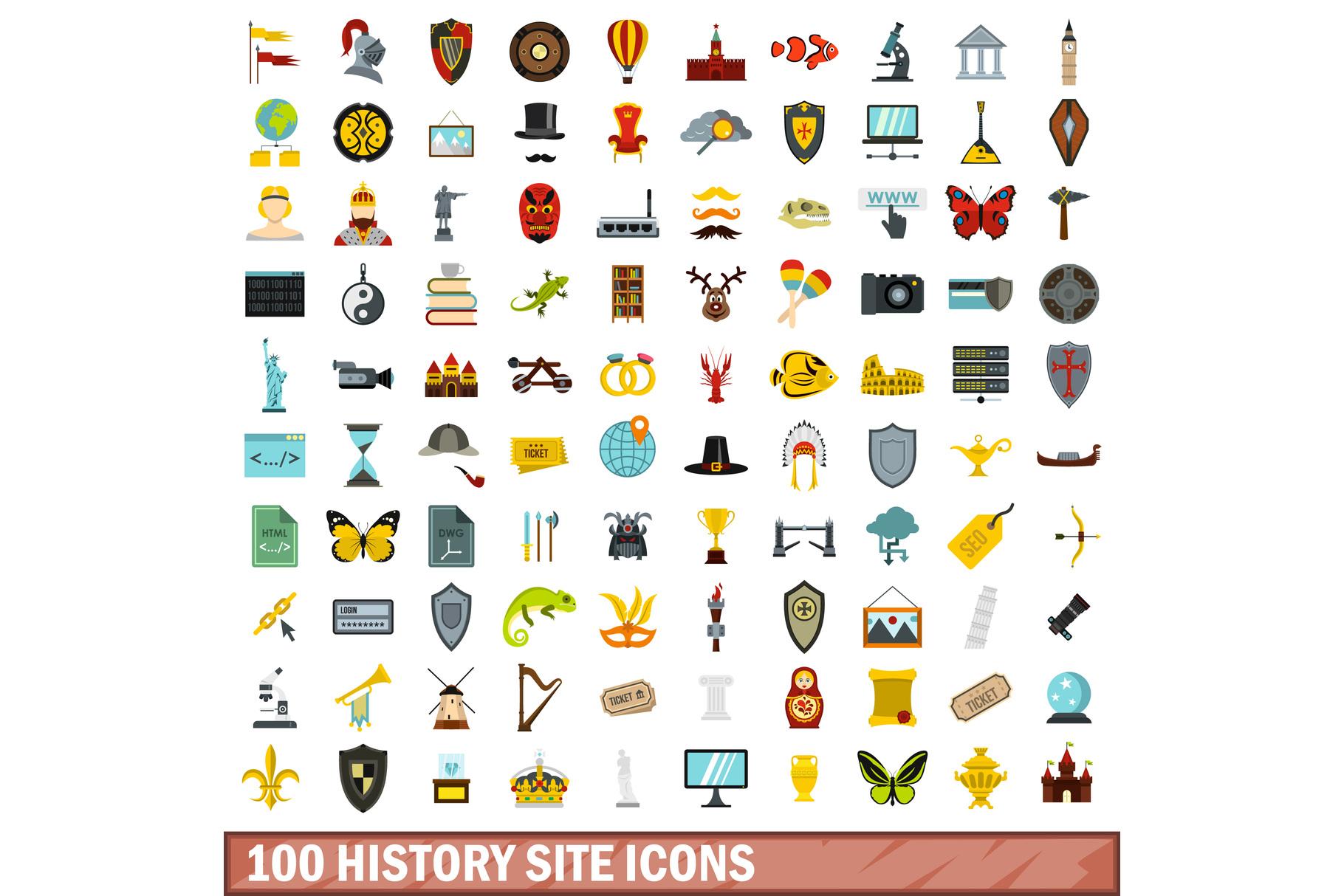 100 history site icons set, flat style example image 1