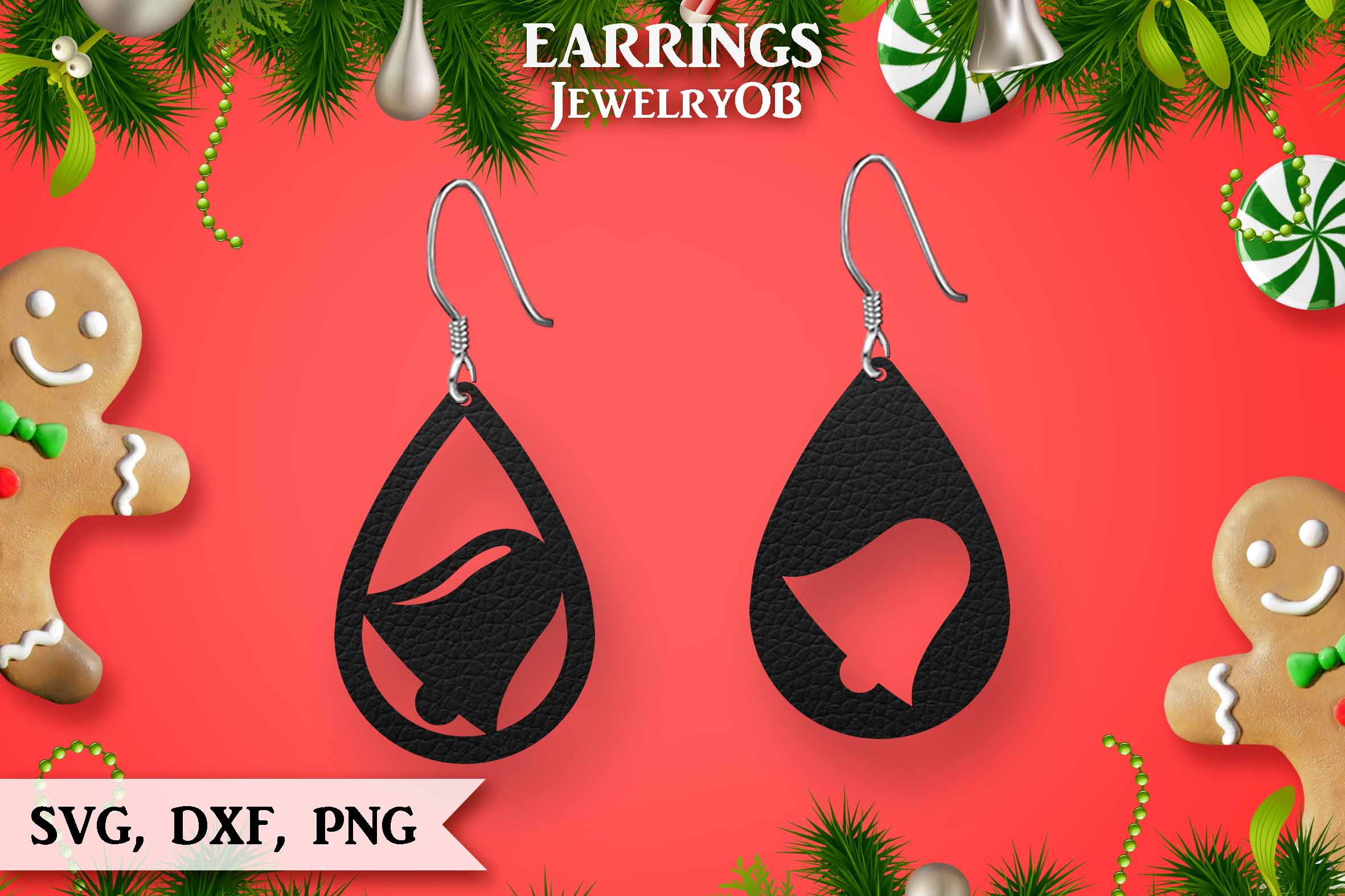 Christmas Earrings, Cut File, SVG DXF PNG, Ring Bell example image 1
