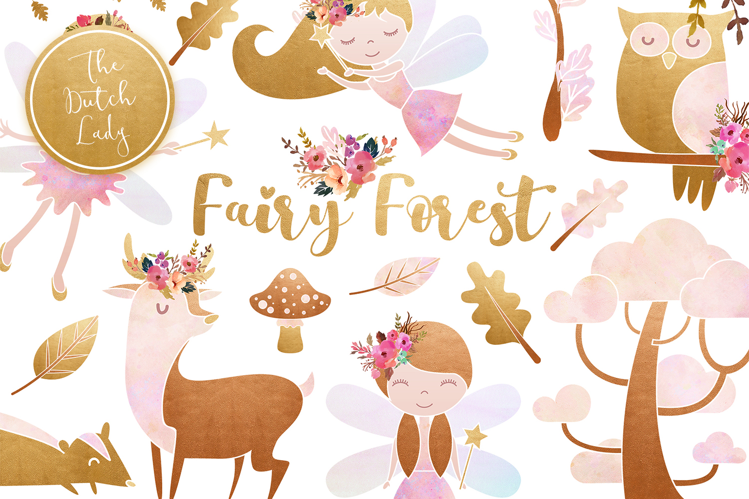 Enchanted Fairy Forest Clipart Set example image 1