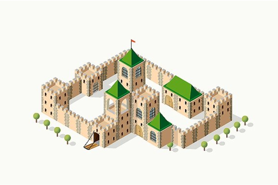 Medieval fortress fort. Isometric view example image 2