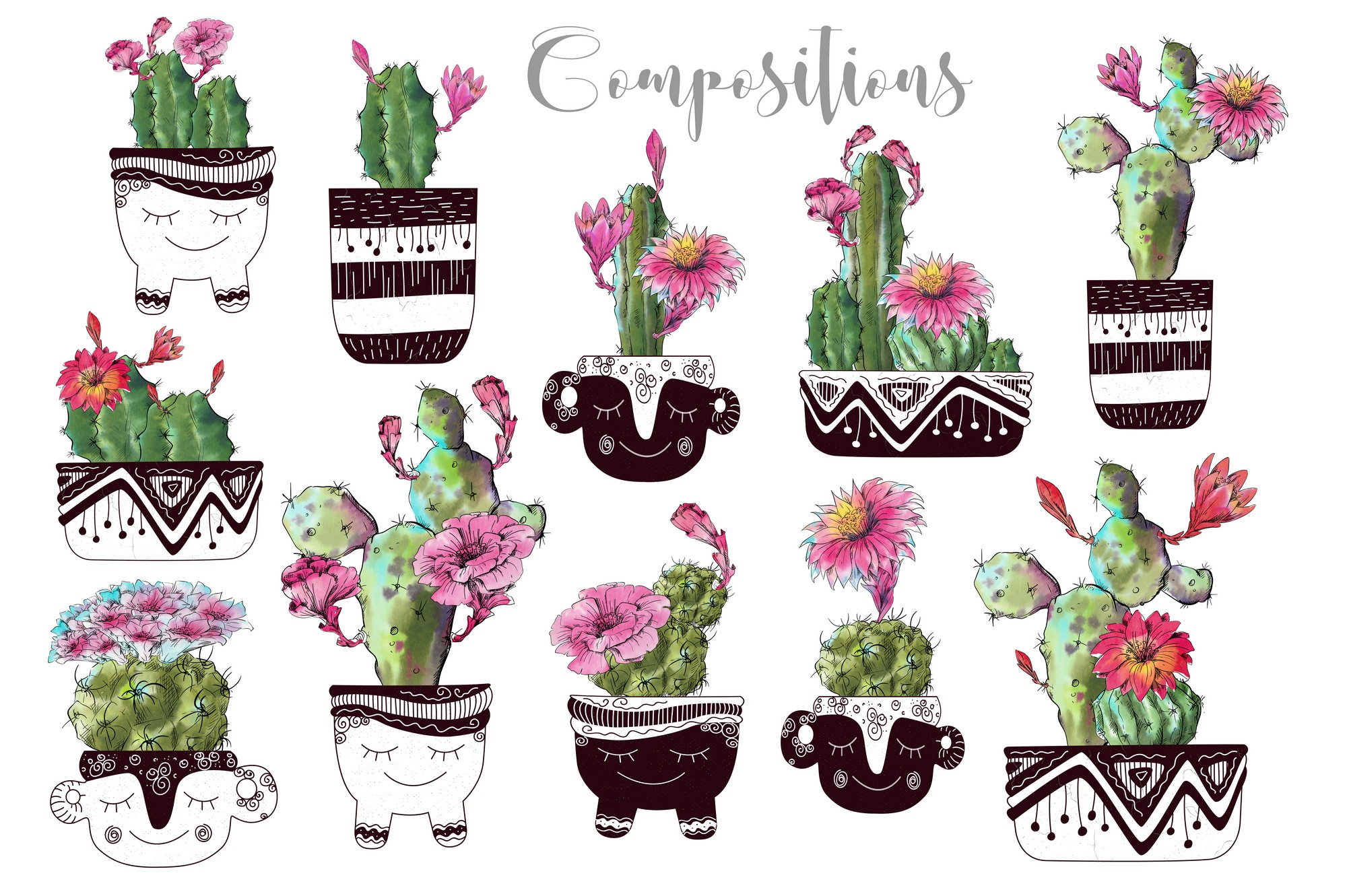 Watercolor Cactus Creator Pattern example image 5