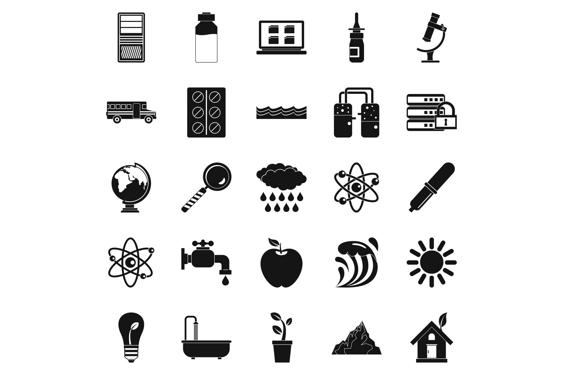 Chemical element icons set, simple style example image 1