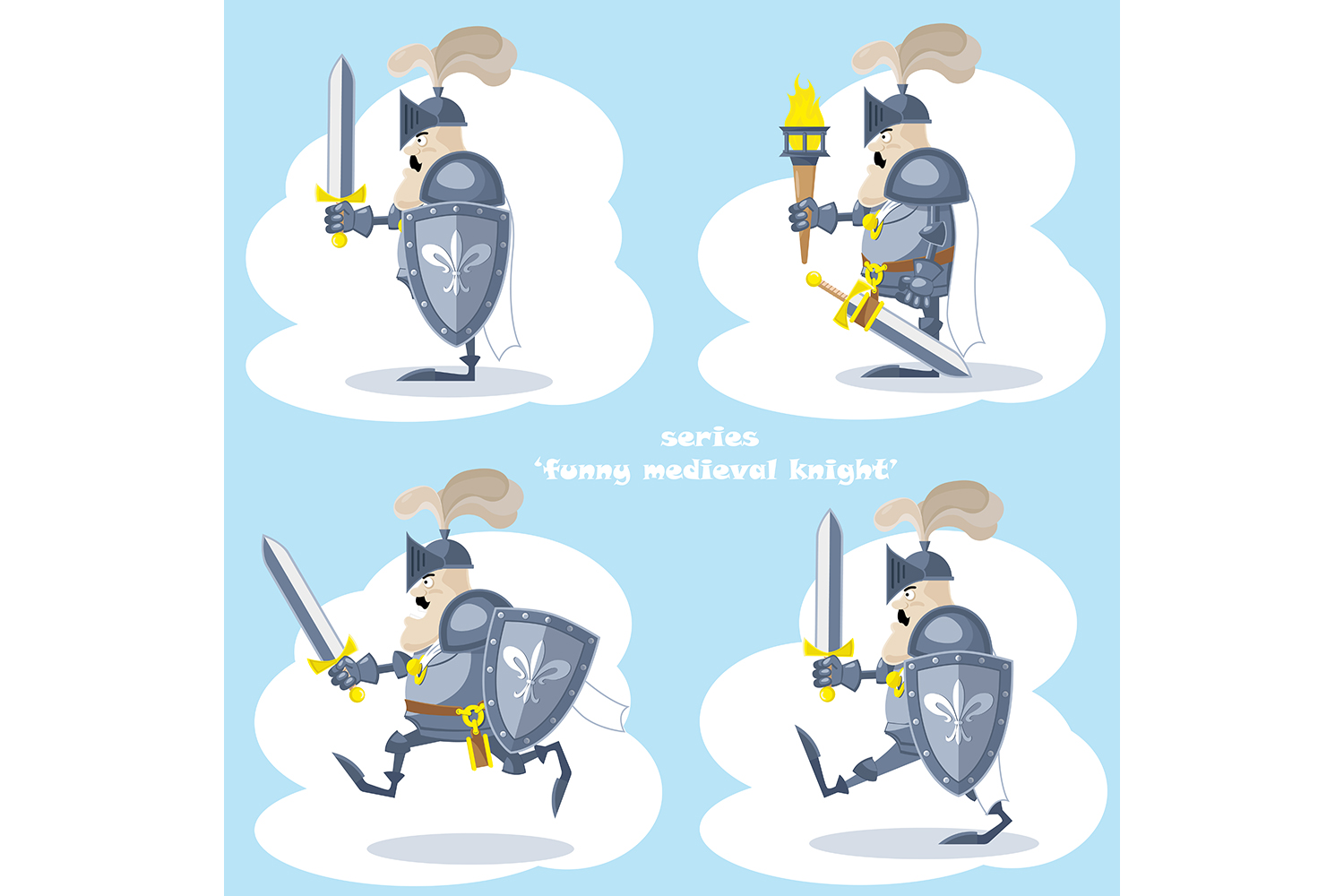 Set of 20 figure funny medieval knight or soldier. Vector illustration example image 5