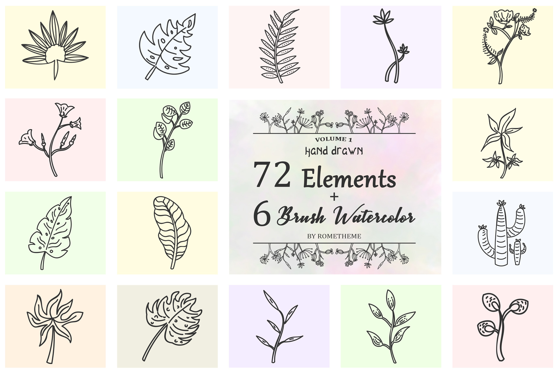 72 Hand Drawn Floral Wreaths example image 1