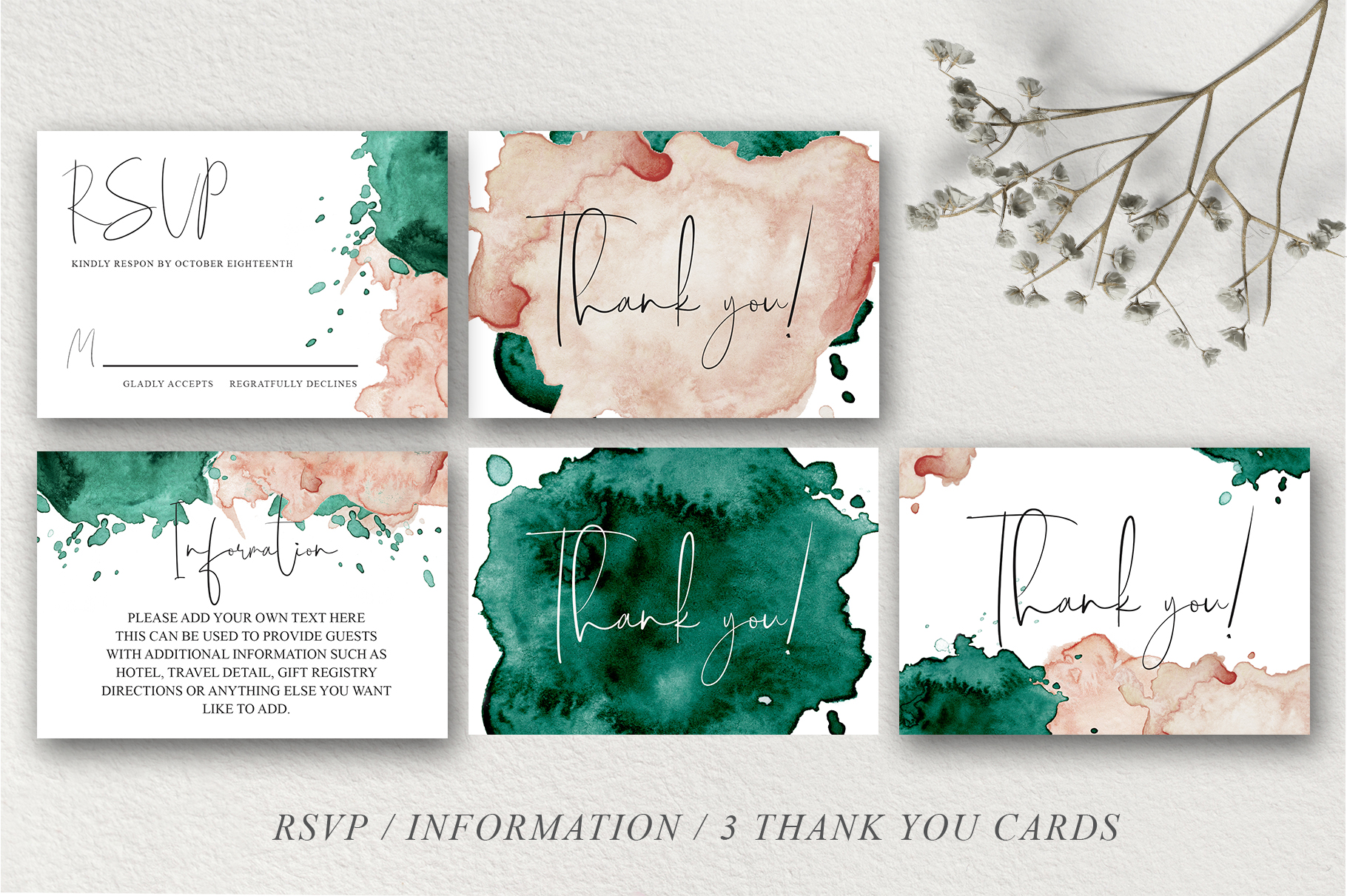 Green and Pink Wedding Invitation Suit example image 10
