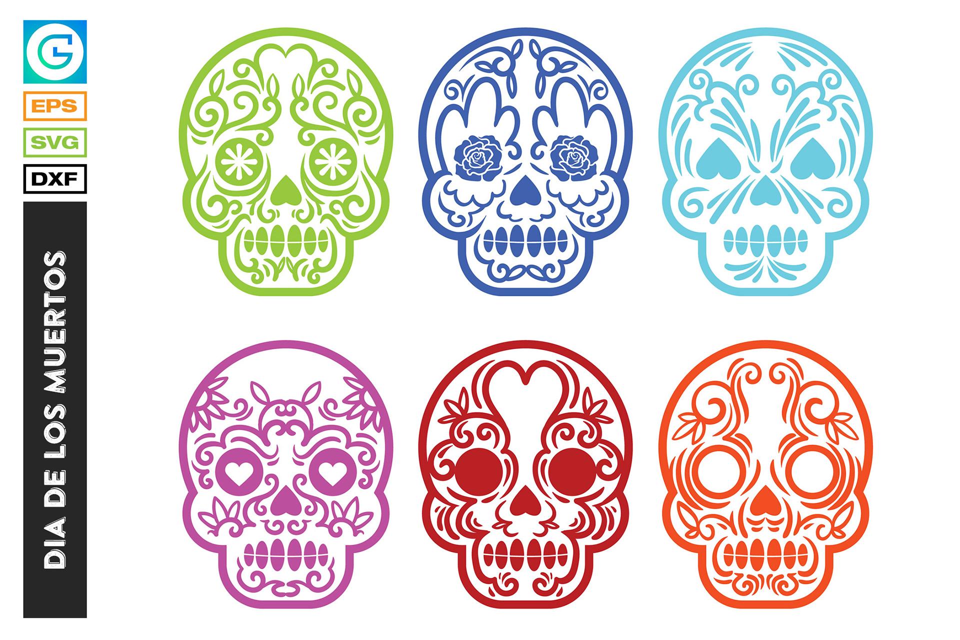 36 Dia de los muertos SVG, Day of the dead, sugar skull example image 5