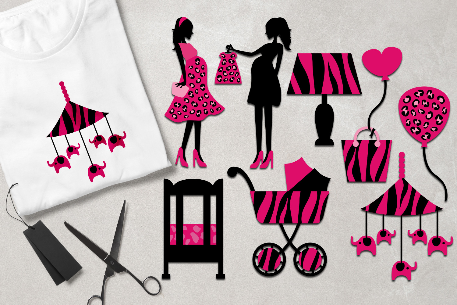 Mom to be safari animal prints pink black - Baby Shower example image 1