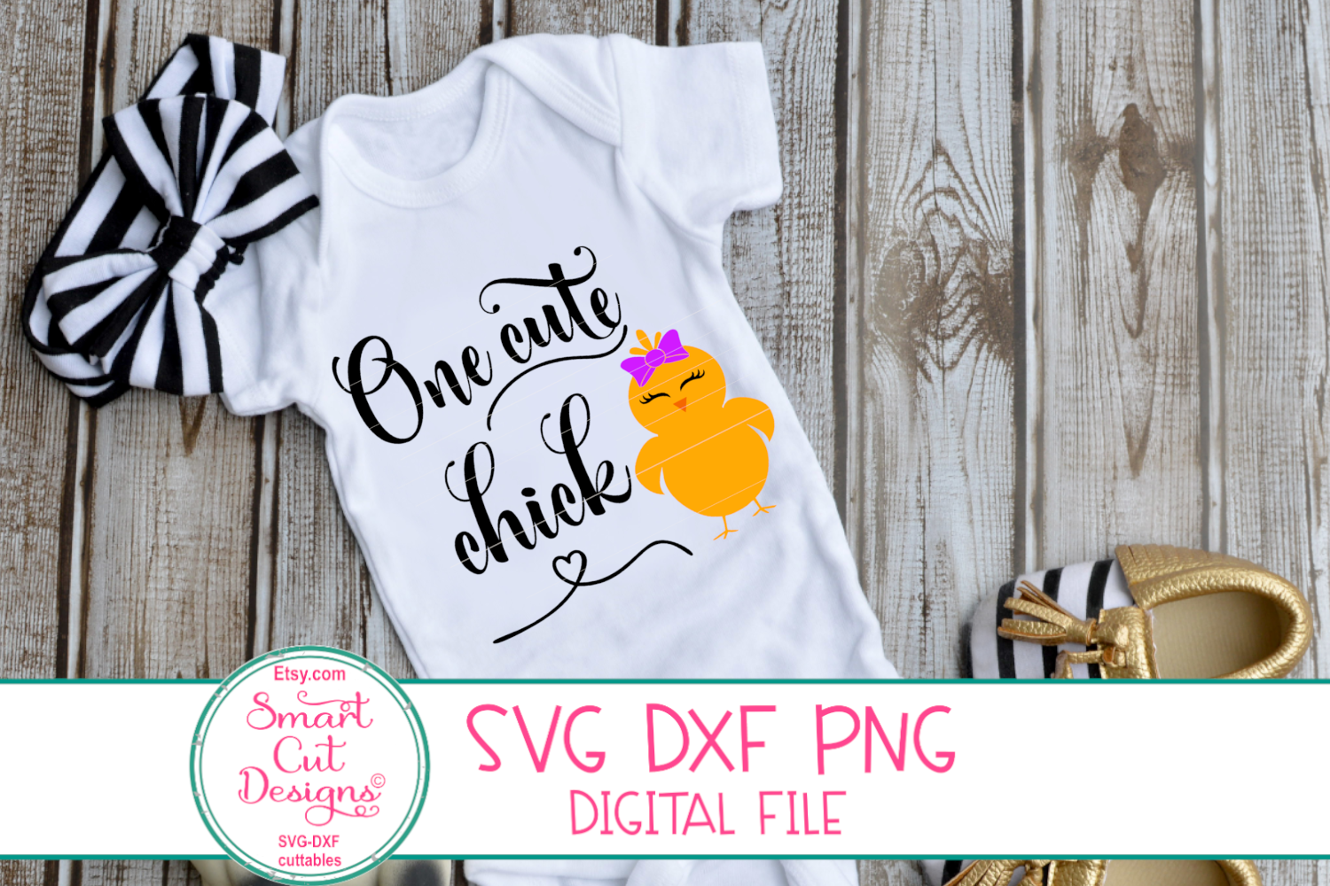 One Cute Chick SVG, Easter Girl SVG, Easter SVG,DXF,Girl SVG example image 2
